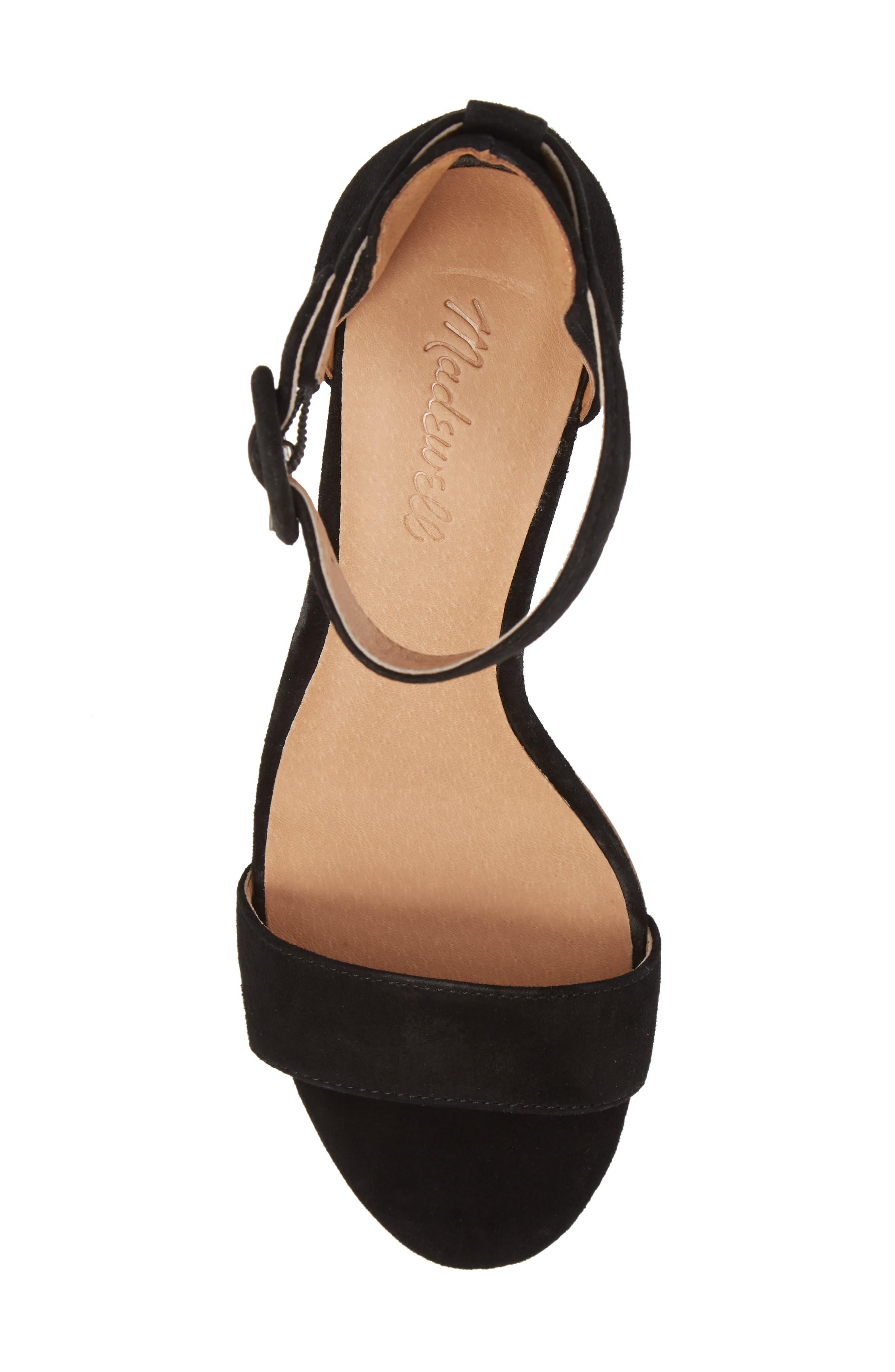 The Regina Ankle Strap Sandal,                             Alternate thumbnail 5, color,                             TRUE BLACK SUEDE