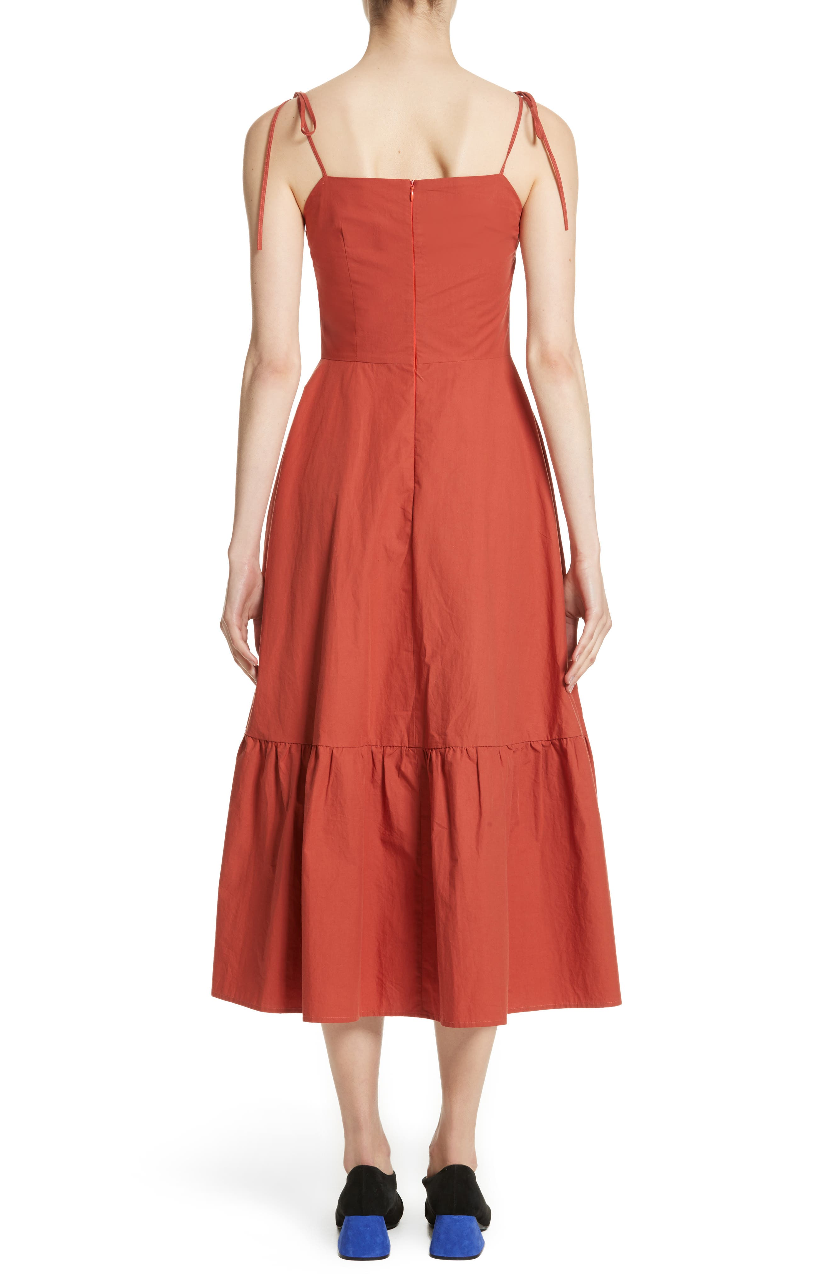 Maria Ruffle Hem Poplin Midi Dress,                             Alternate thumbnail 2, color,