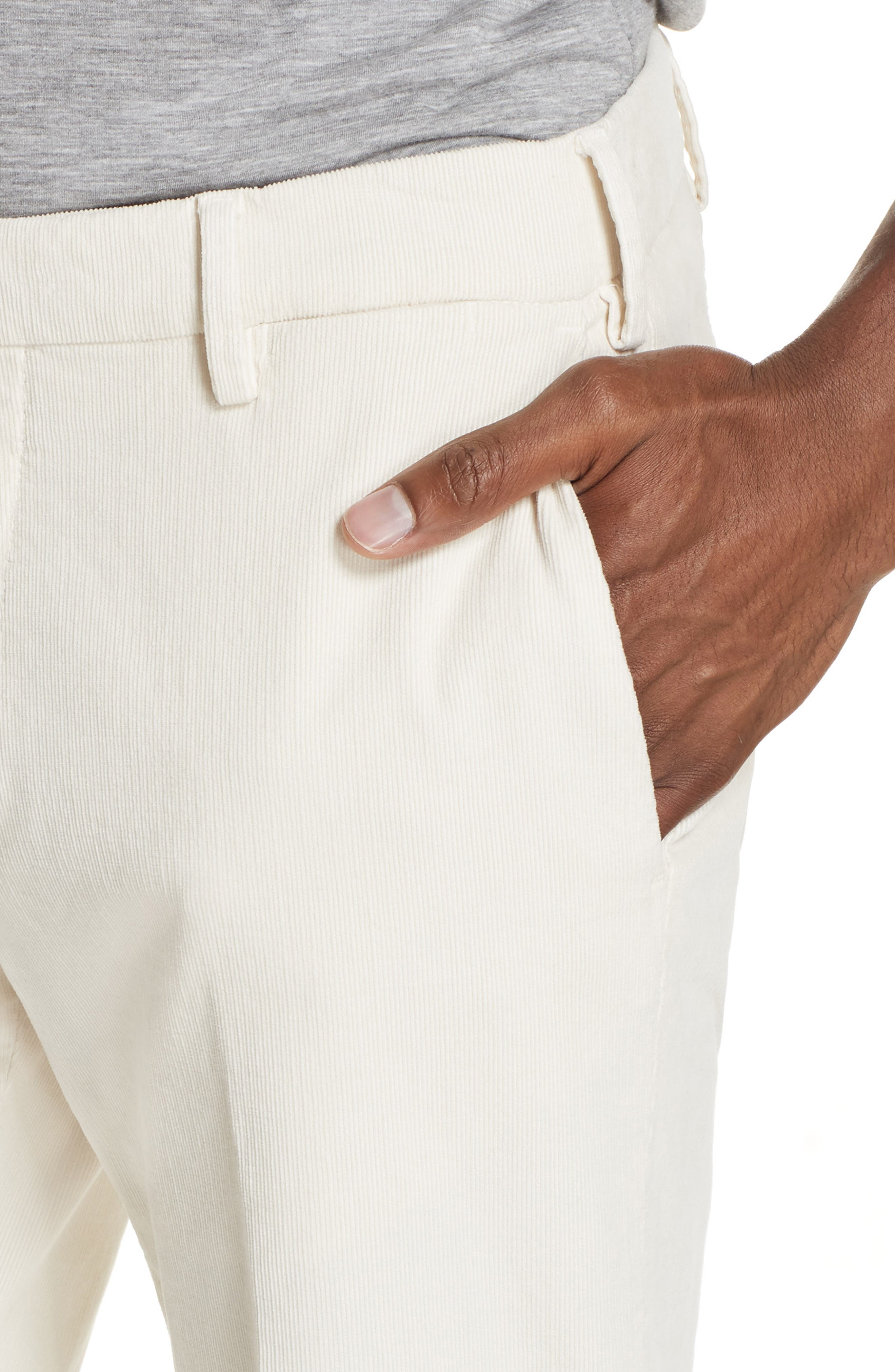 Flat Front Stretch Solid Cotton Blend Trousers,                             Alternate thumbnail 4, color,                             WINTER WHITE