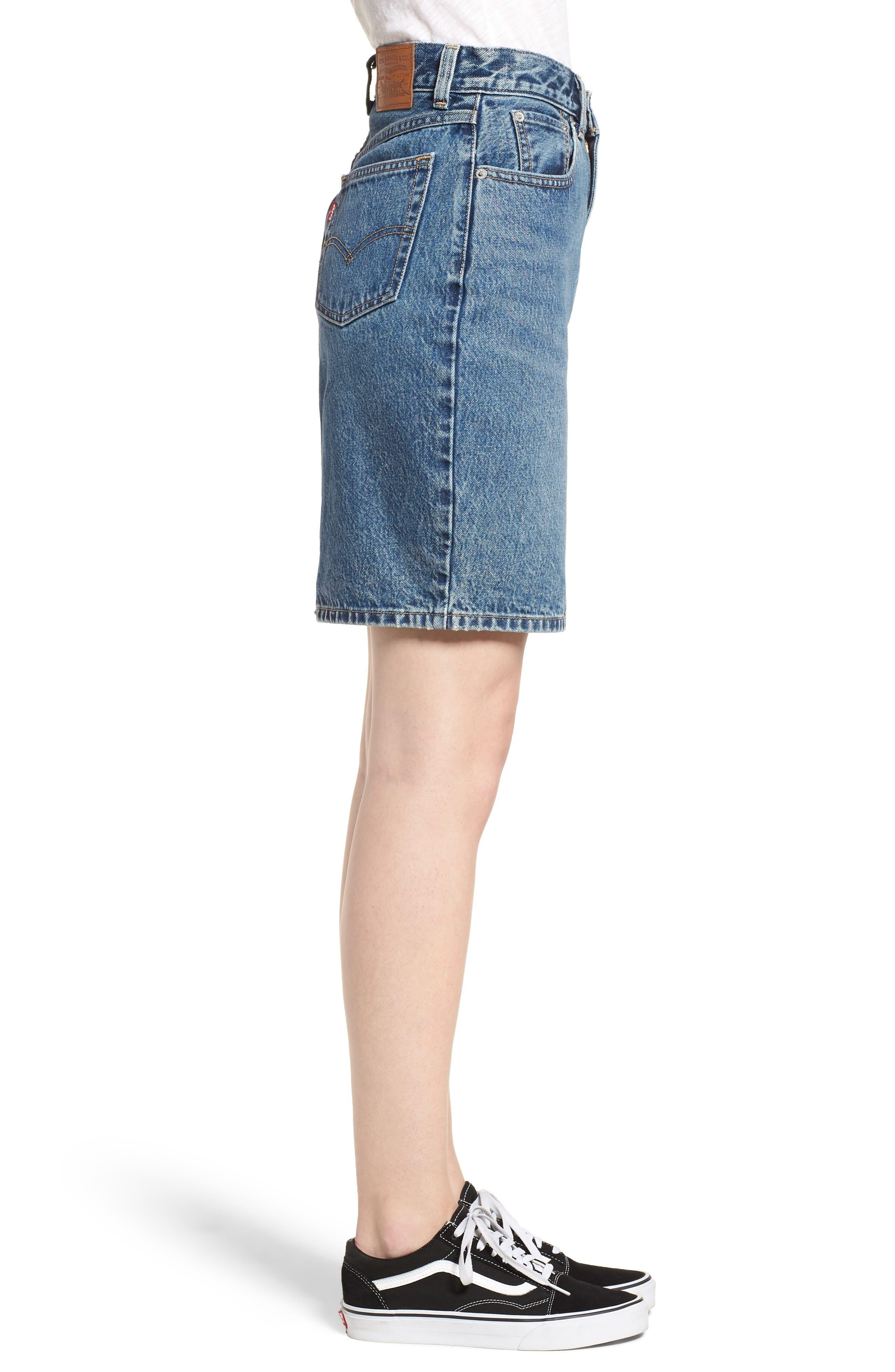 Mom Bow Back Denim Skirt,                             Alternate thumbnail 3, color,                             420