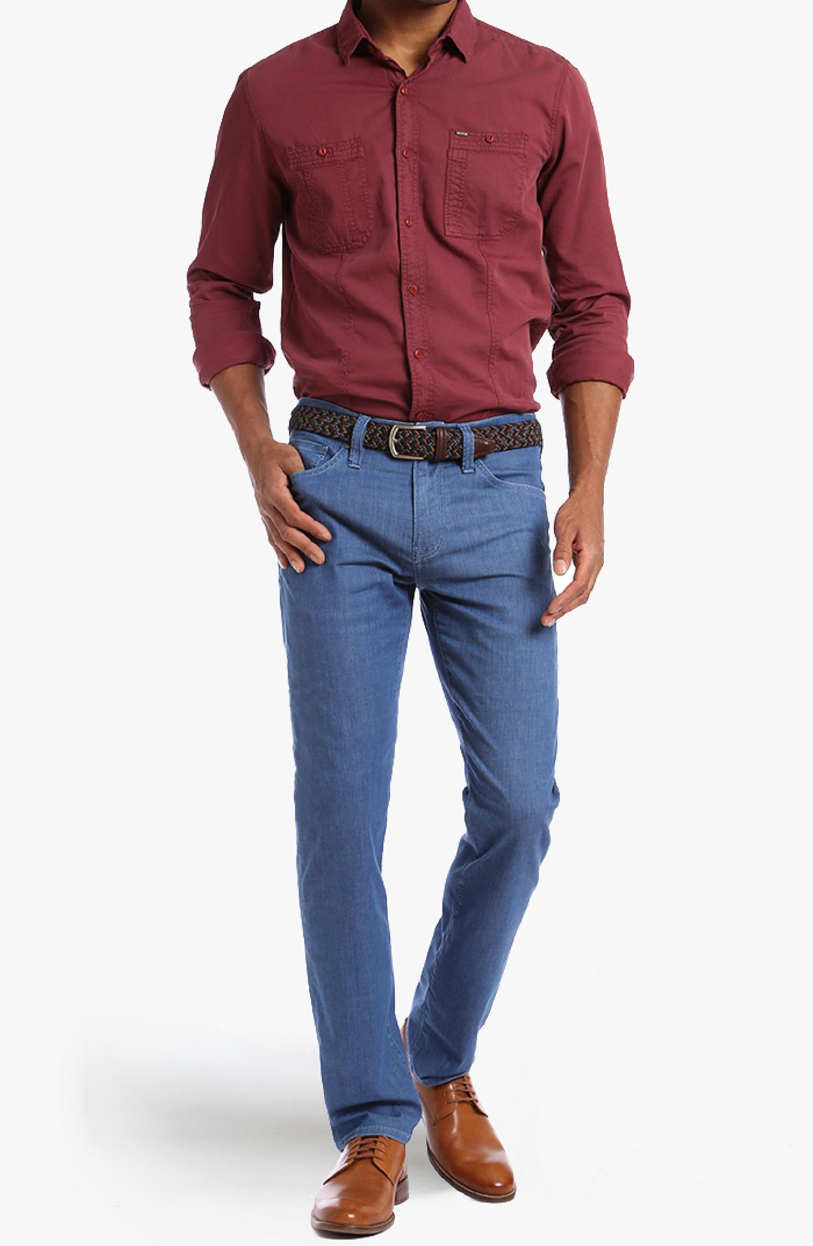 Courage Straight Fit Jeans,                             Alternate thumbnail 4, color,                             MID MAUI DENIM