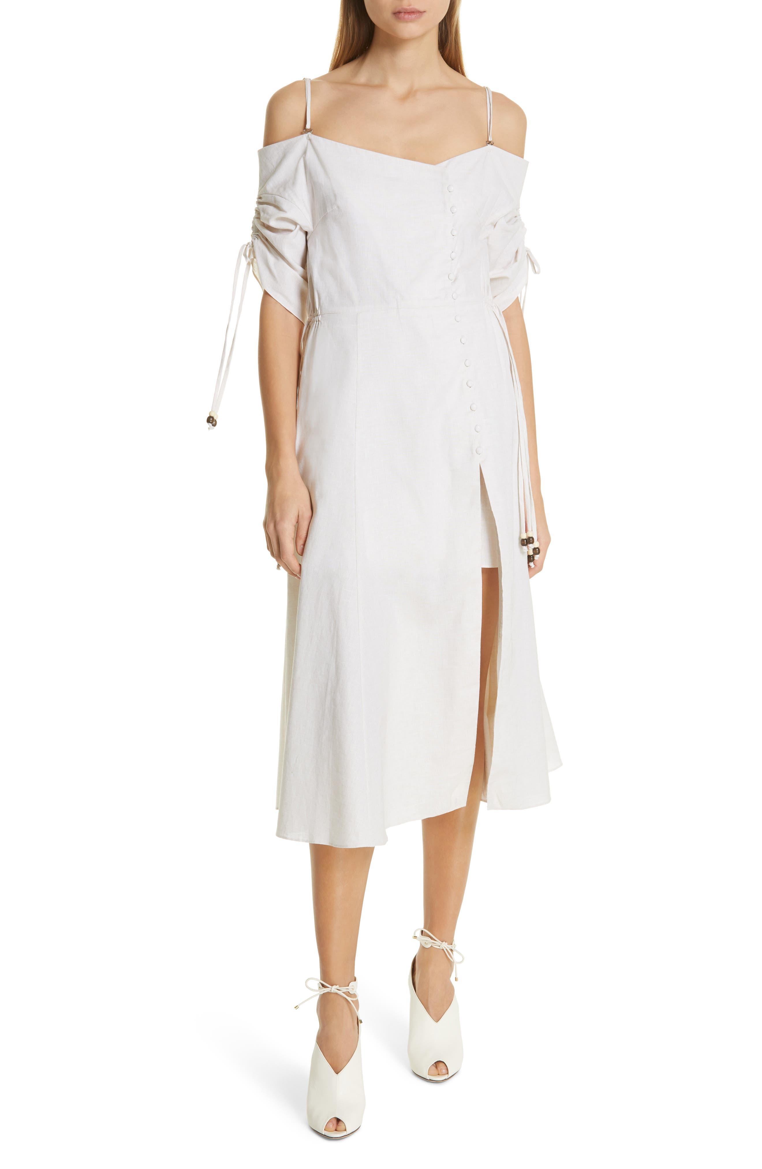 JONATHAN SIMKHAI Off the Shoulder Cotton & Linen Dress, Main, color, ECRU