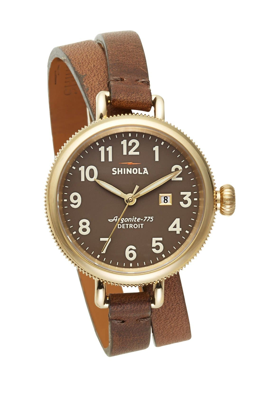 'The Birdy' Double Wrap Leather Strap Watch, 34mm,                             Main thumbnail 8, color,