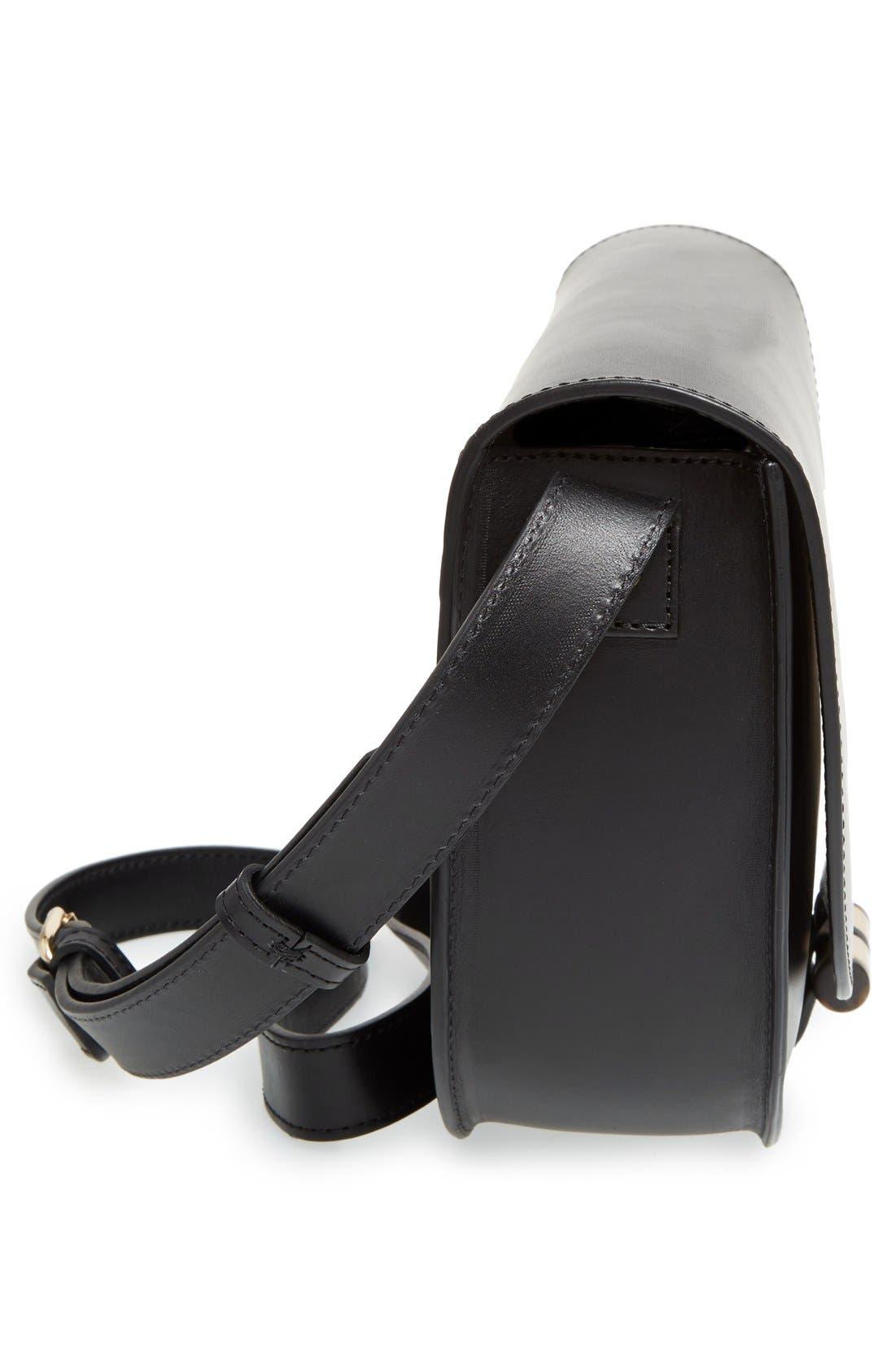 'Sac June' Leather Shoulder Bag,                             Alternate thumbnail 4, color,                             001