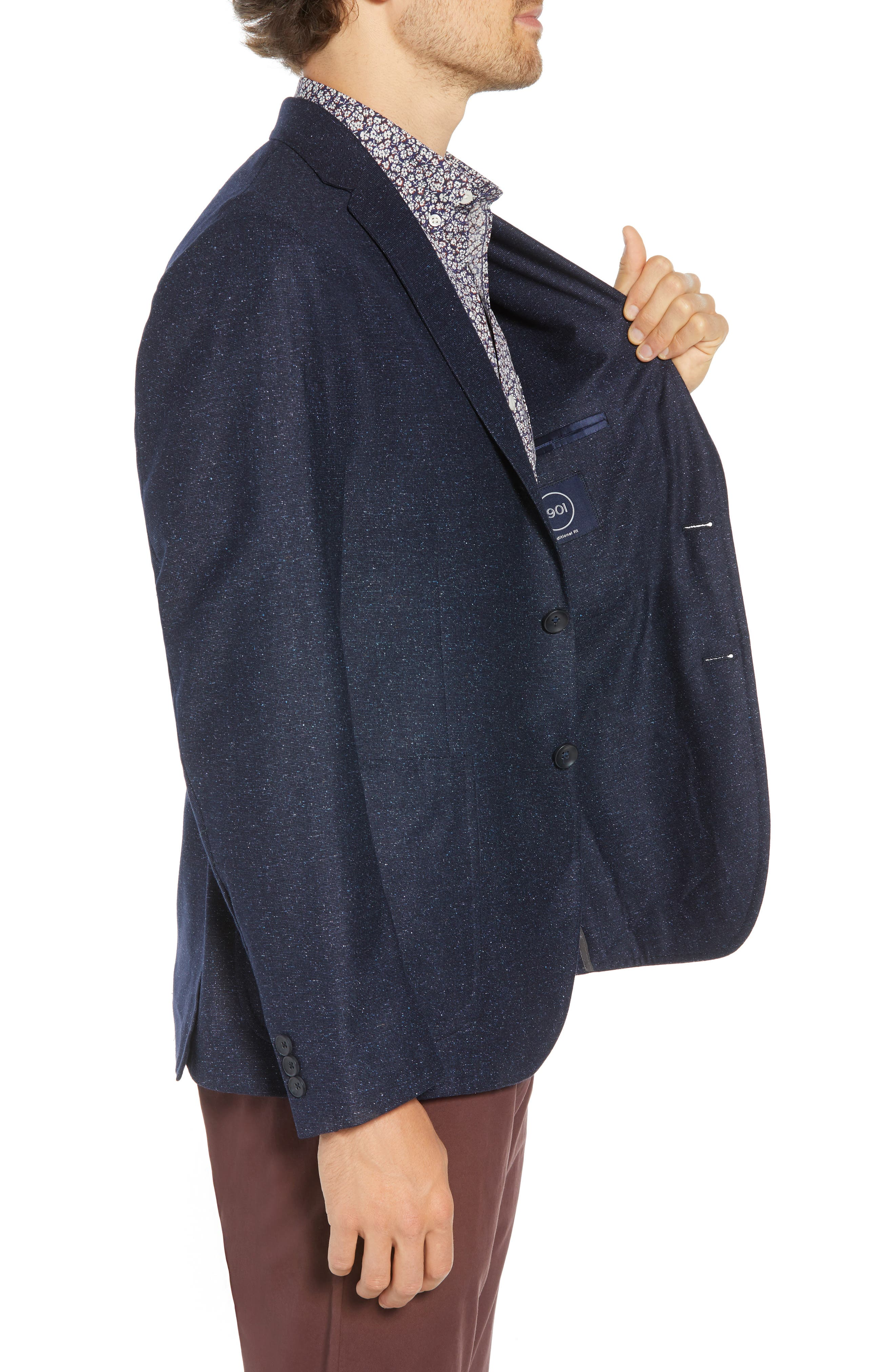 Extra Trim Fit Wool & Silk Soft Coat,                             Alternate thumbnail 3, color,                             NAVY