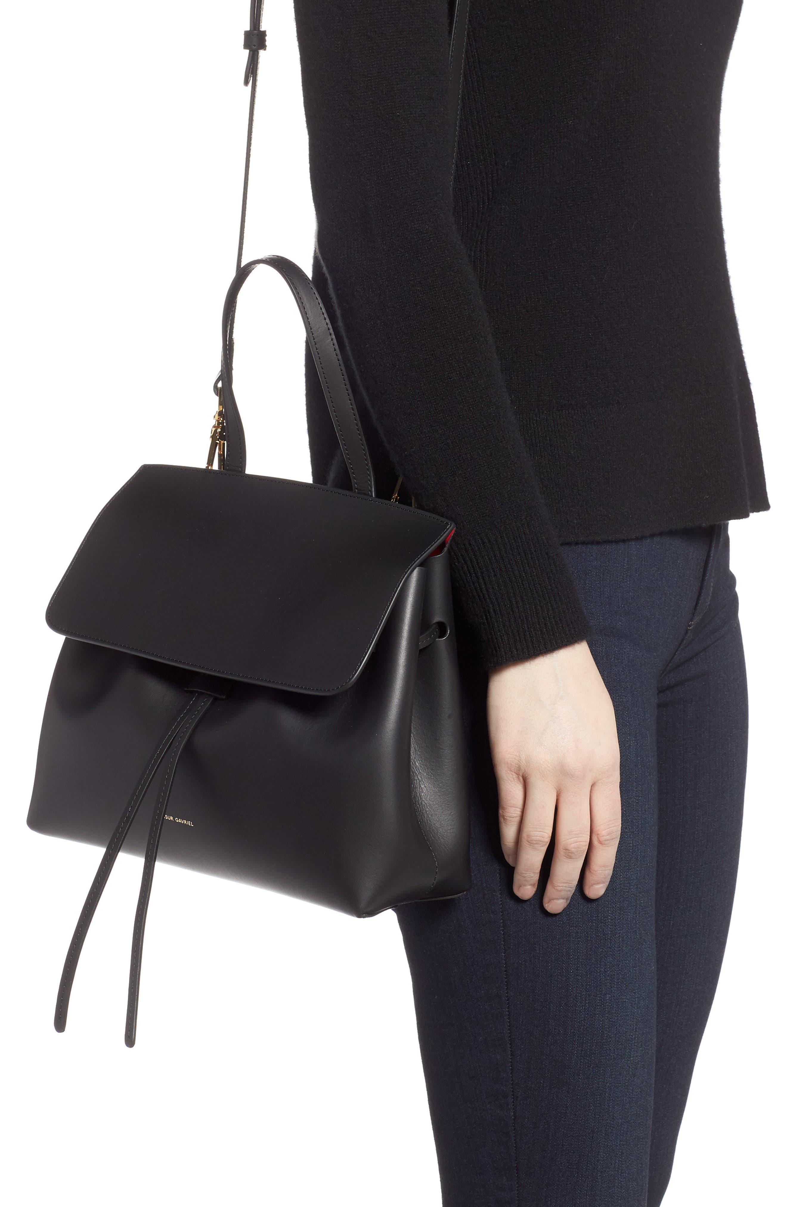 Mini Lady Leather Bag,                             Alternate thumbnail 2, color,                             BLACK/ FLAMMA