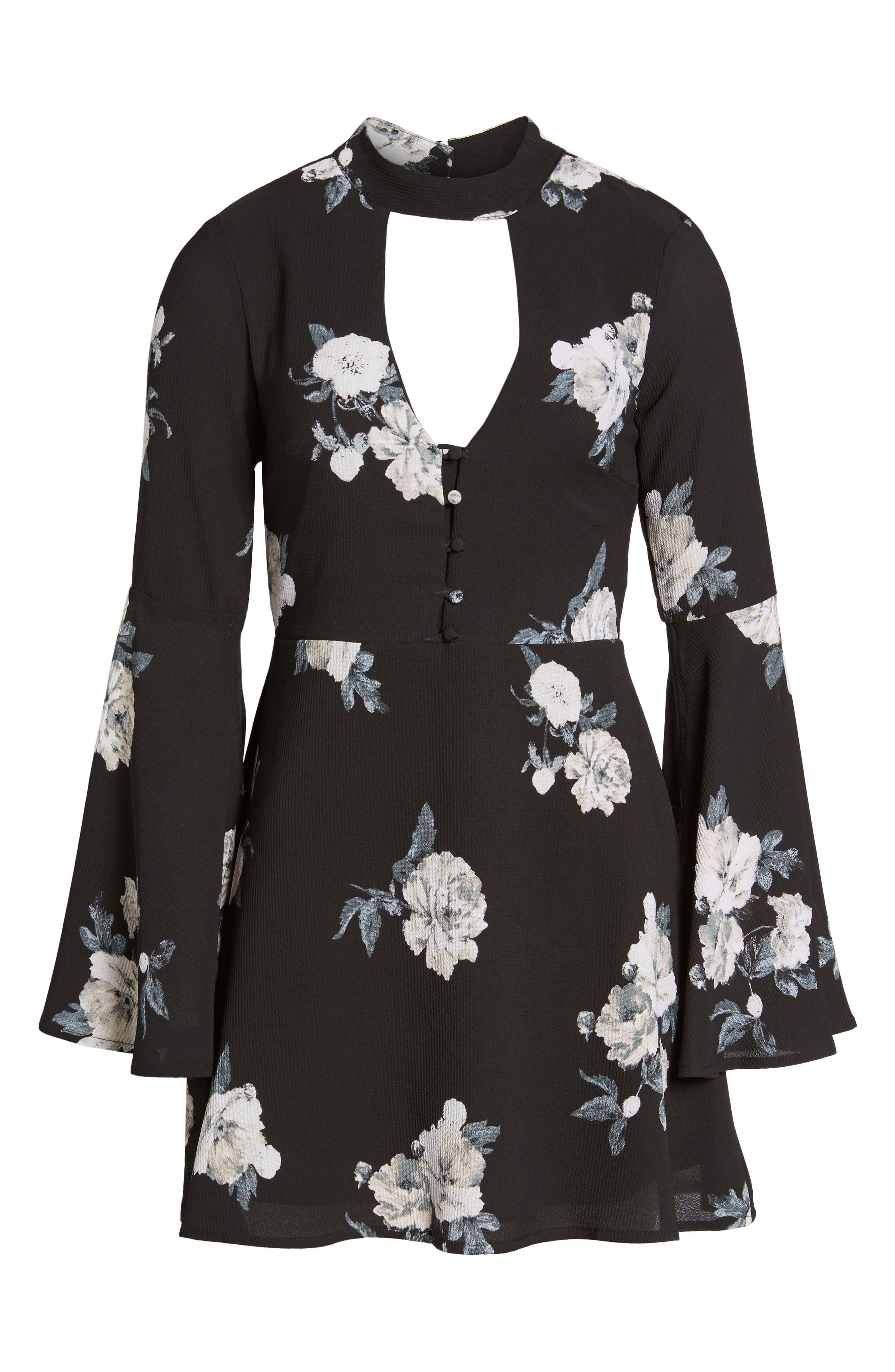Harper Bell Sleeve Dress,                             Alternate thumbnail 6, color,                             001