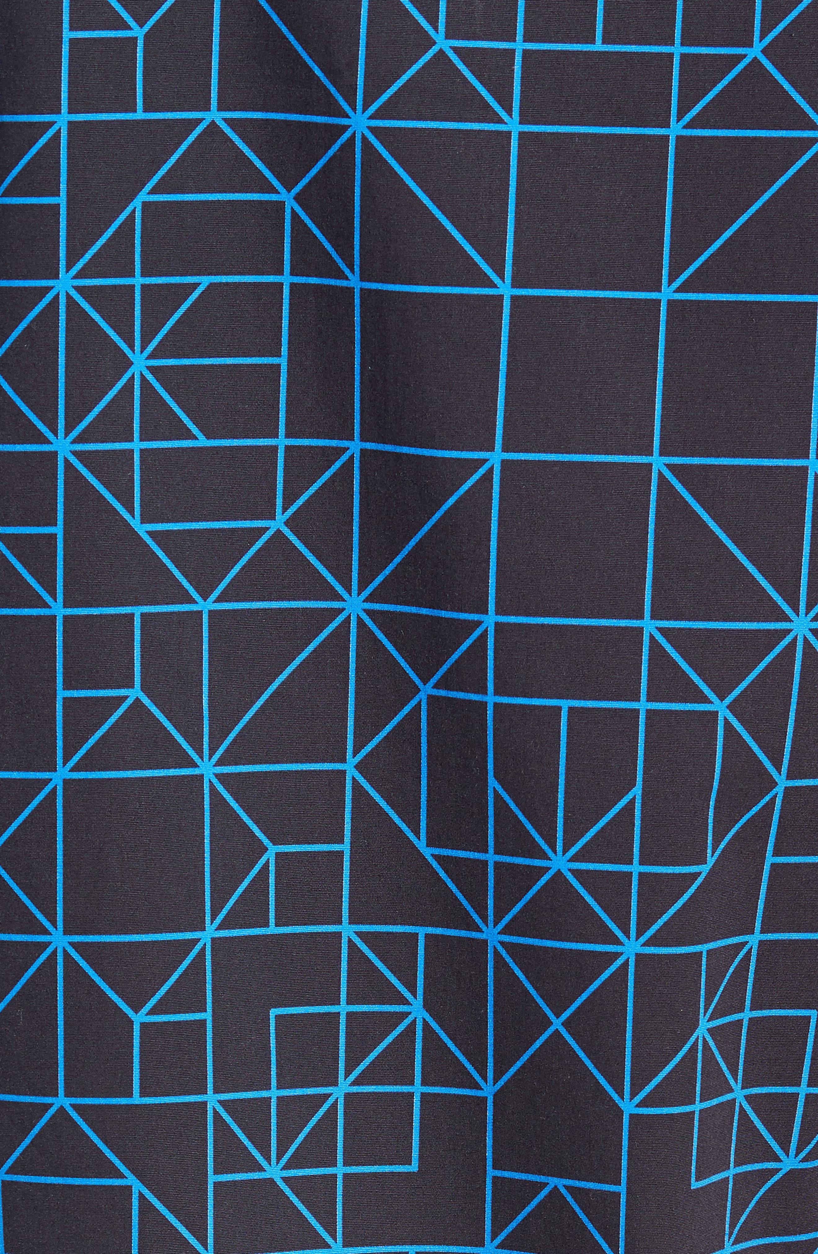 Print Sport Shirt,                             Alternate thumbnail 5, color,                             BLACK BLUE GRID GEO
