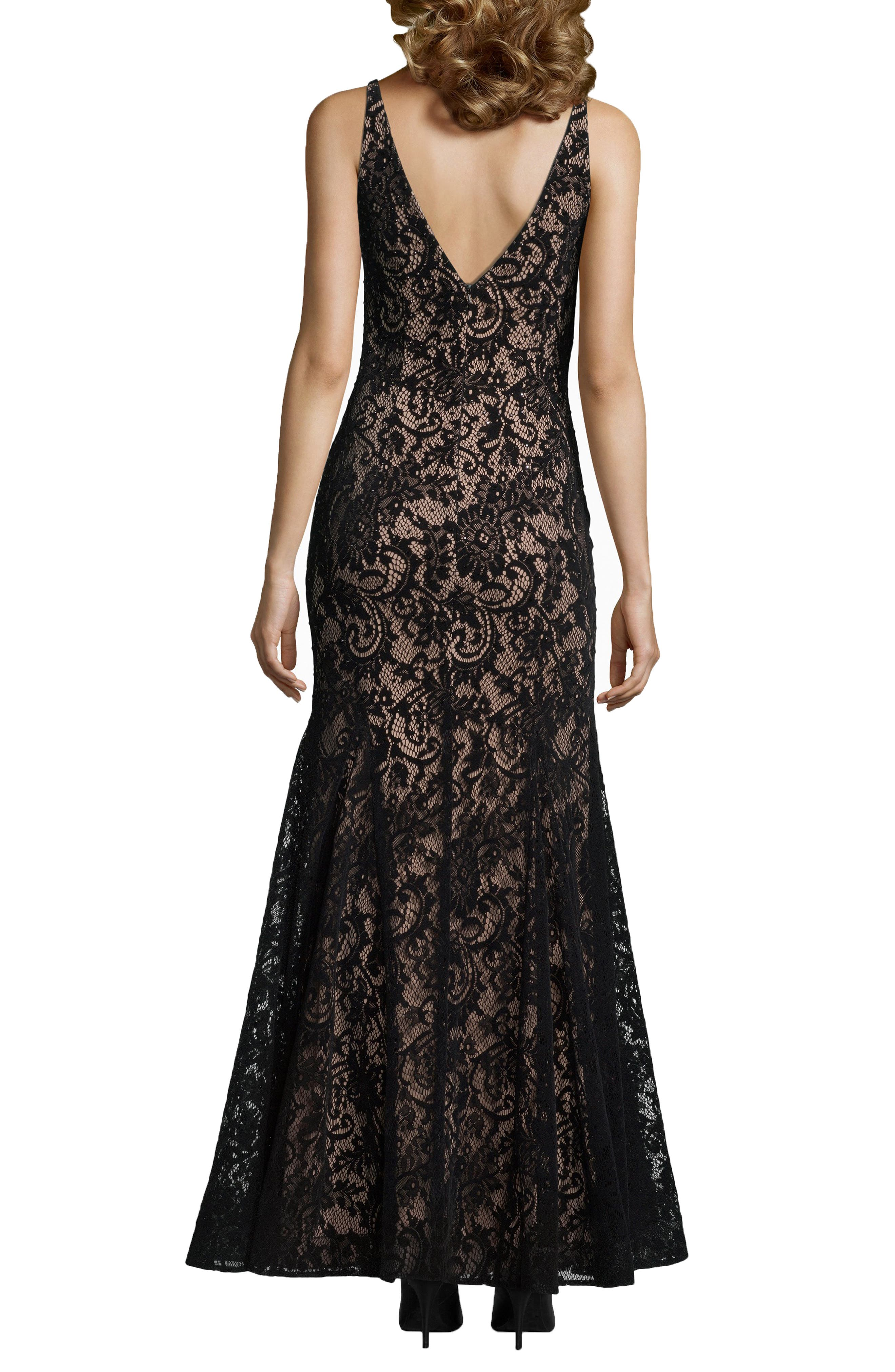 Sleeveless Flocked Lace Gown,                             Alternate thumbnail 2, color,                             BLACK/ NUDE