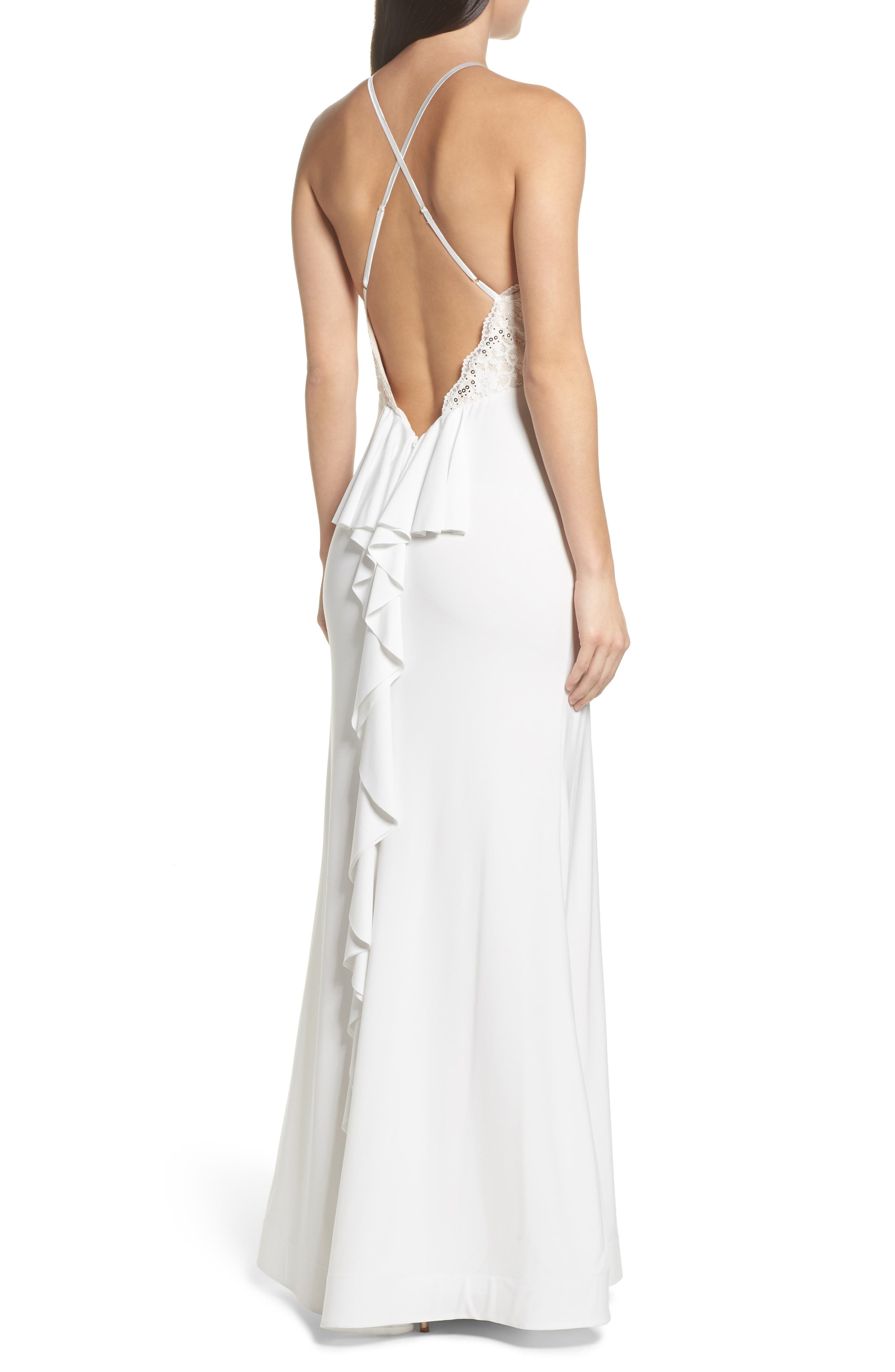 Ruffle Back Lace Gown,                             Alternate thumbnail 2, color,                             900