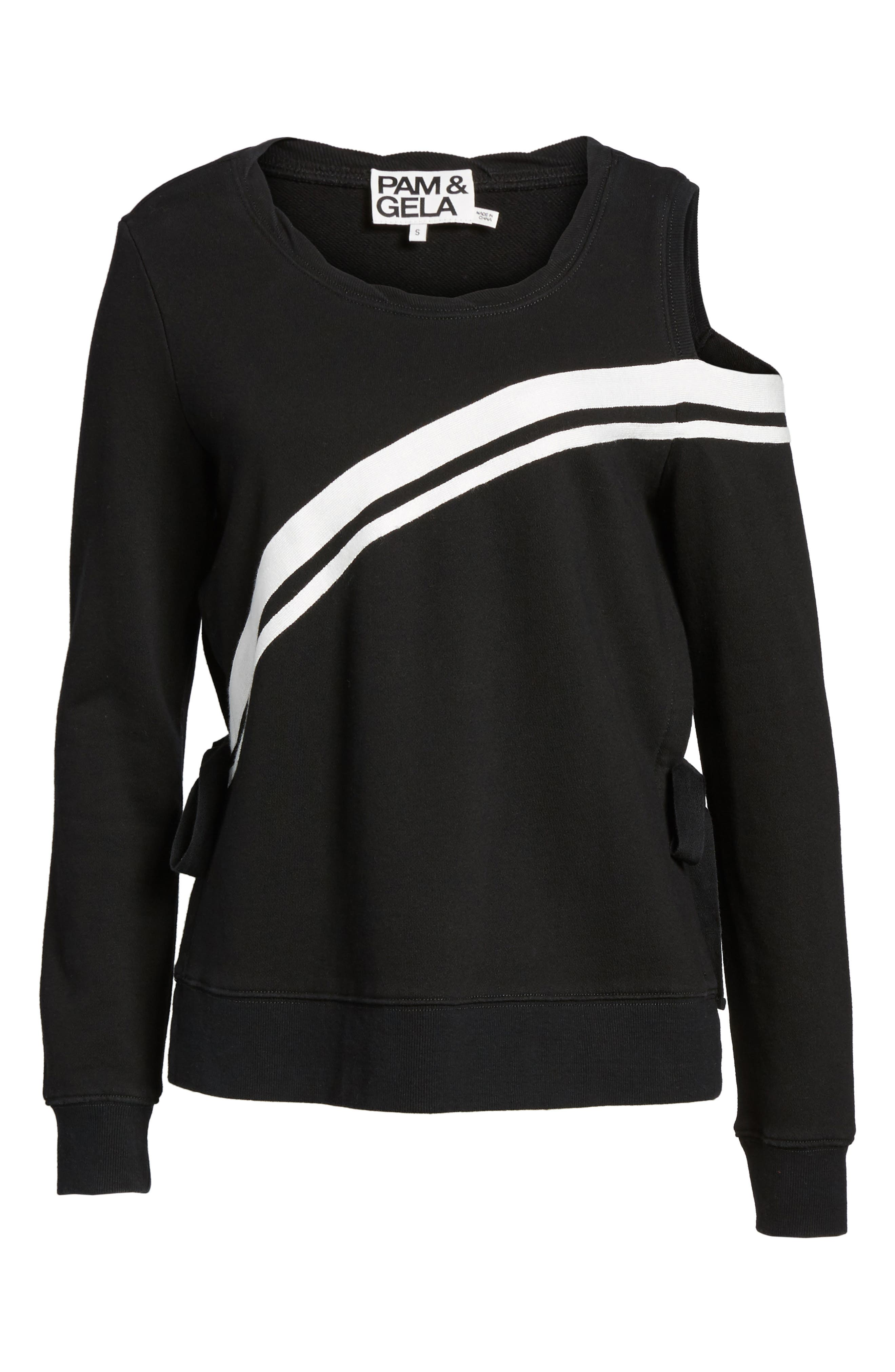 Cold Shoulder Sweatshirt,                             Alternate thumbnail 7, color,                             001
