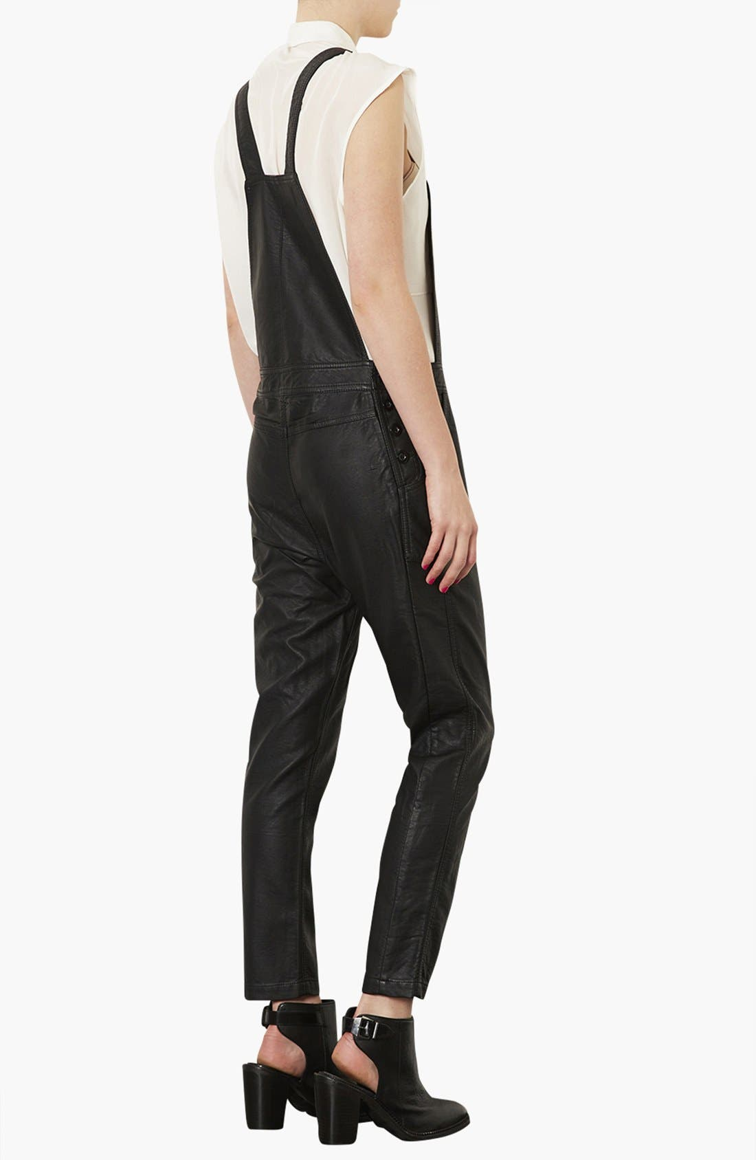 Faux Leather Overalls,                             Alternate thumbnail 4, color,                             001