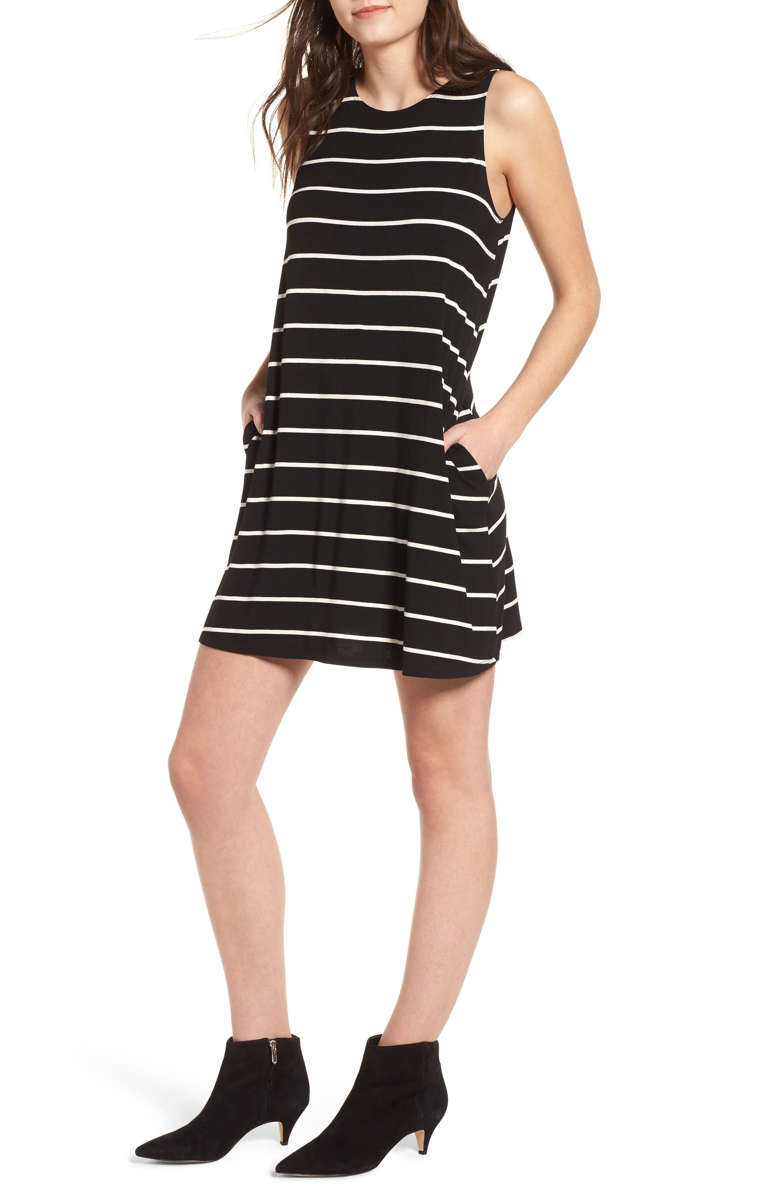 Pocket Tank Dress,                             Main thumbnail 1, color,                             BLACK/ WHITE STRIPE