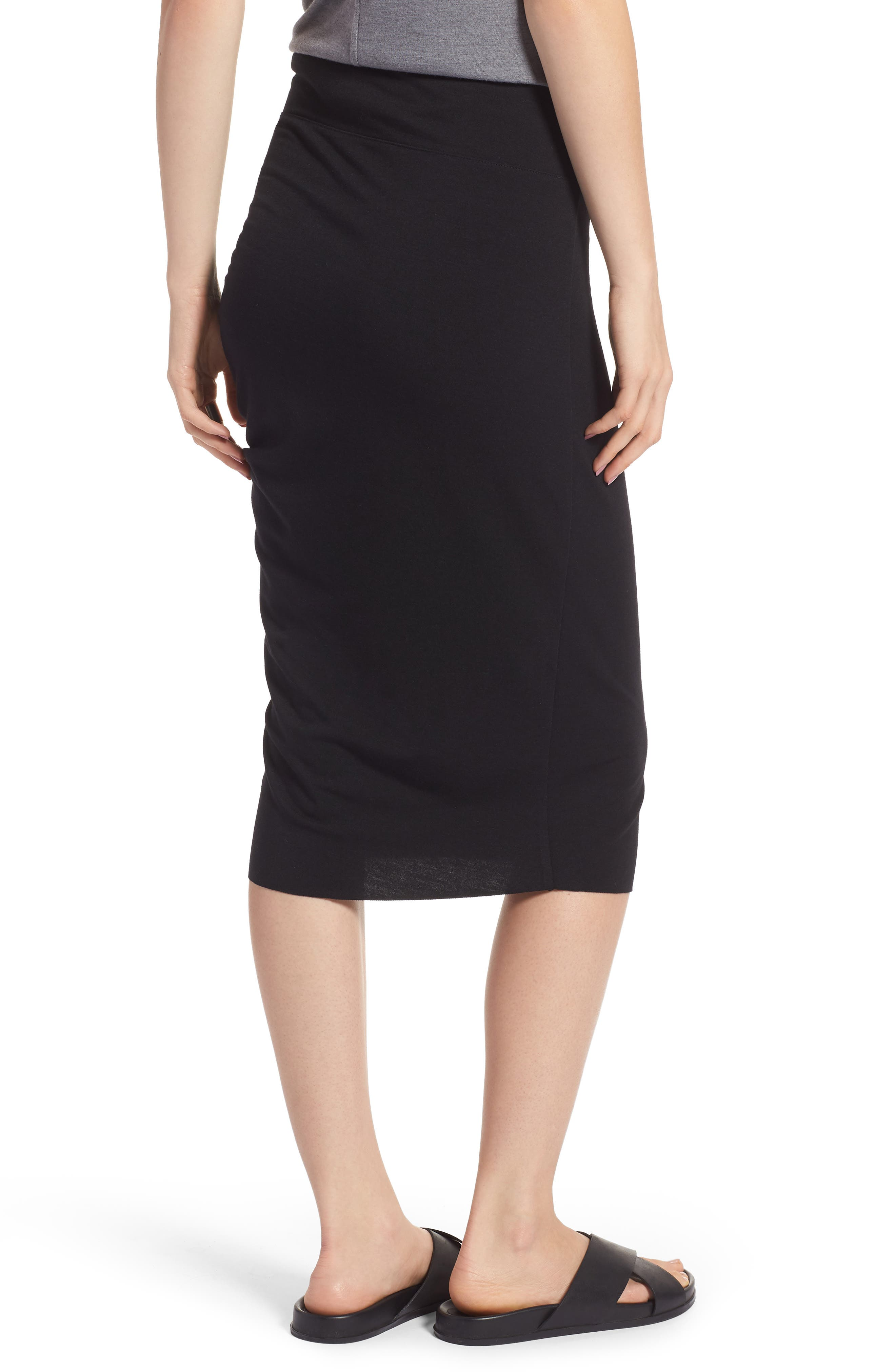 Ruched Knit Midi Skirt,                             Alternate thumbnail 3, color,