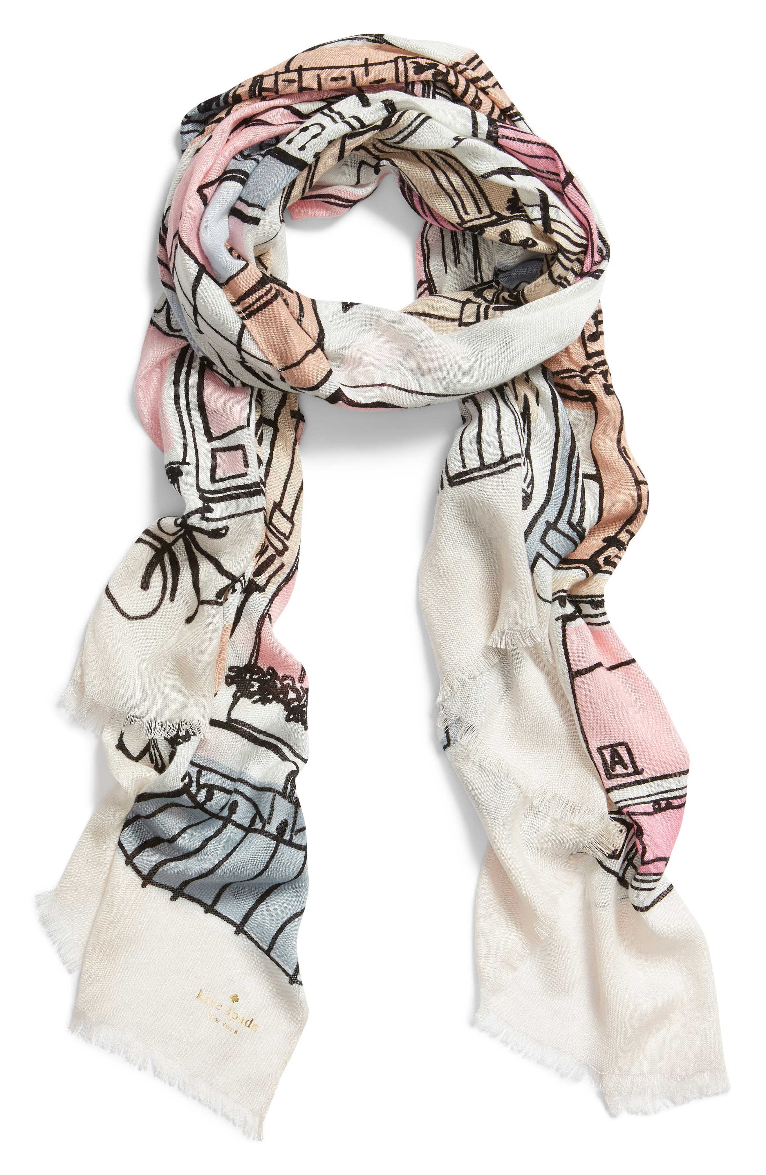 KATE SPADE NEW YORK,                             brooklyn scene scarf,                             Alternate thumbnail 2, color,                             CREAM