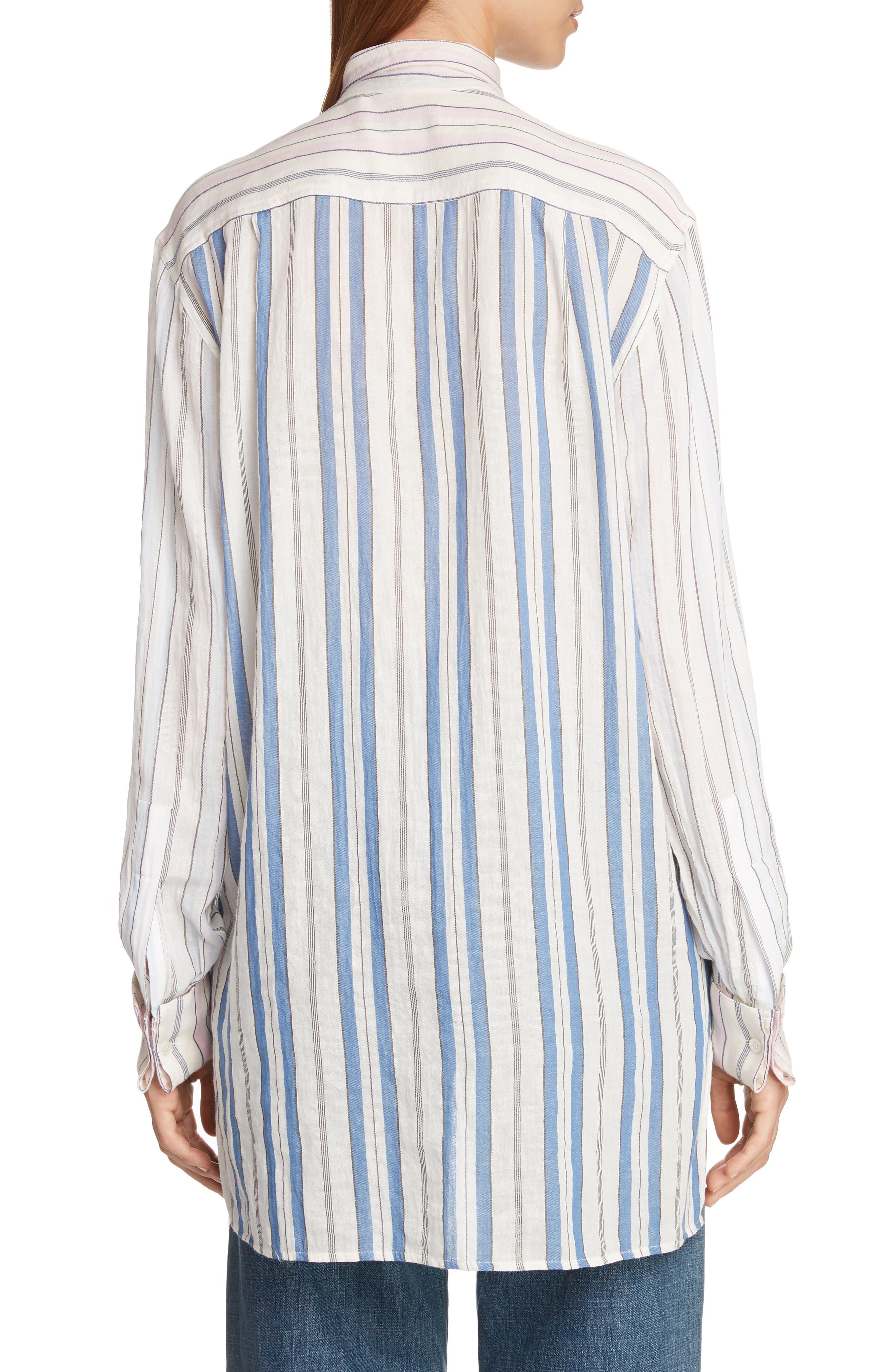 Pajama Stripe Tie Neck Blouse,                             Alternate thumbnail 2, color,                             IVORY