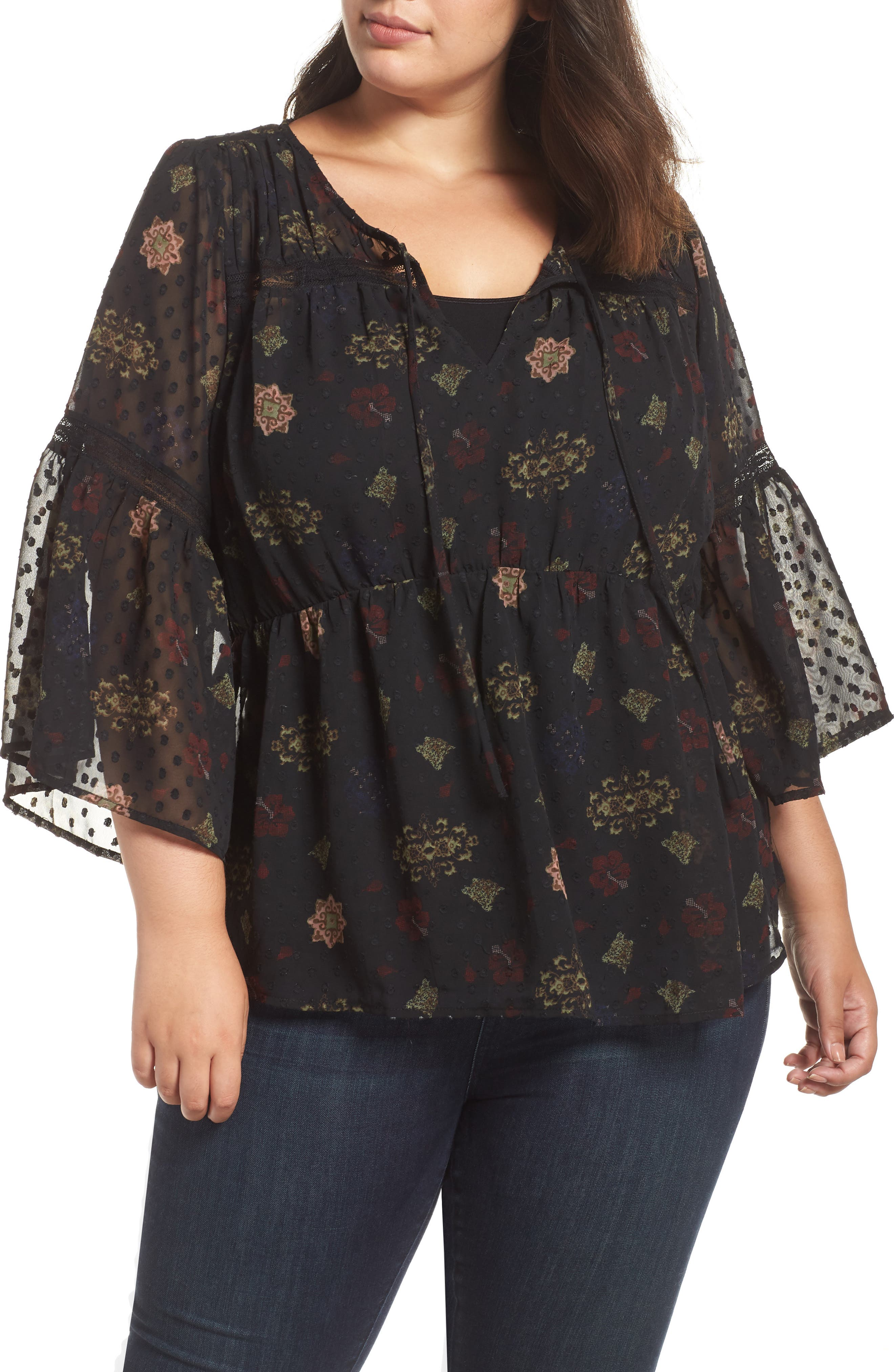 Swiss Dot Floral Top,                         Main,                         color, BLACK MULTI
