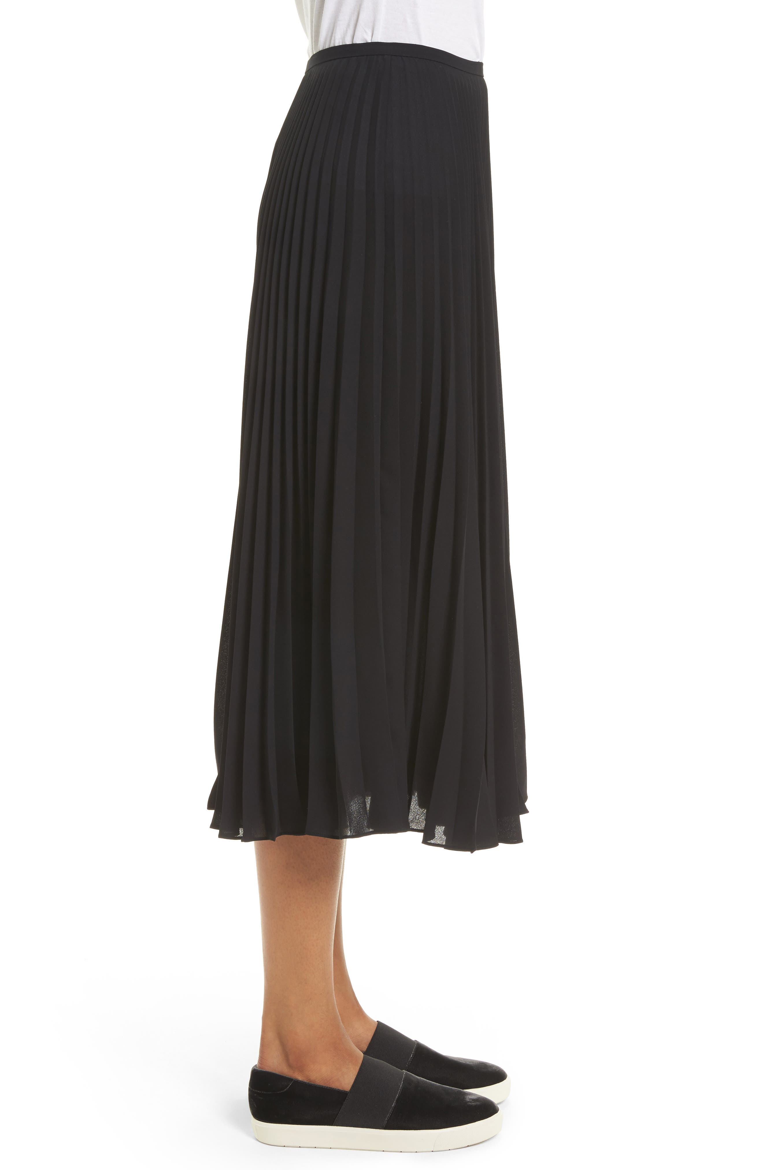 Pleated Chiffon Midi Skirt,                             Alternate thumbnail 3, color,                             001