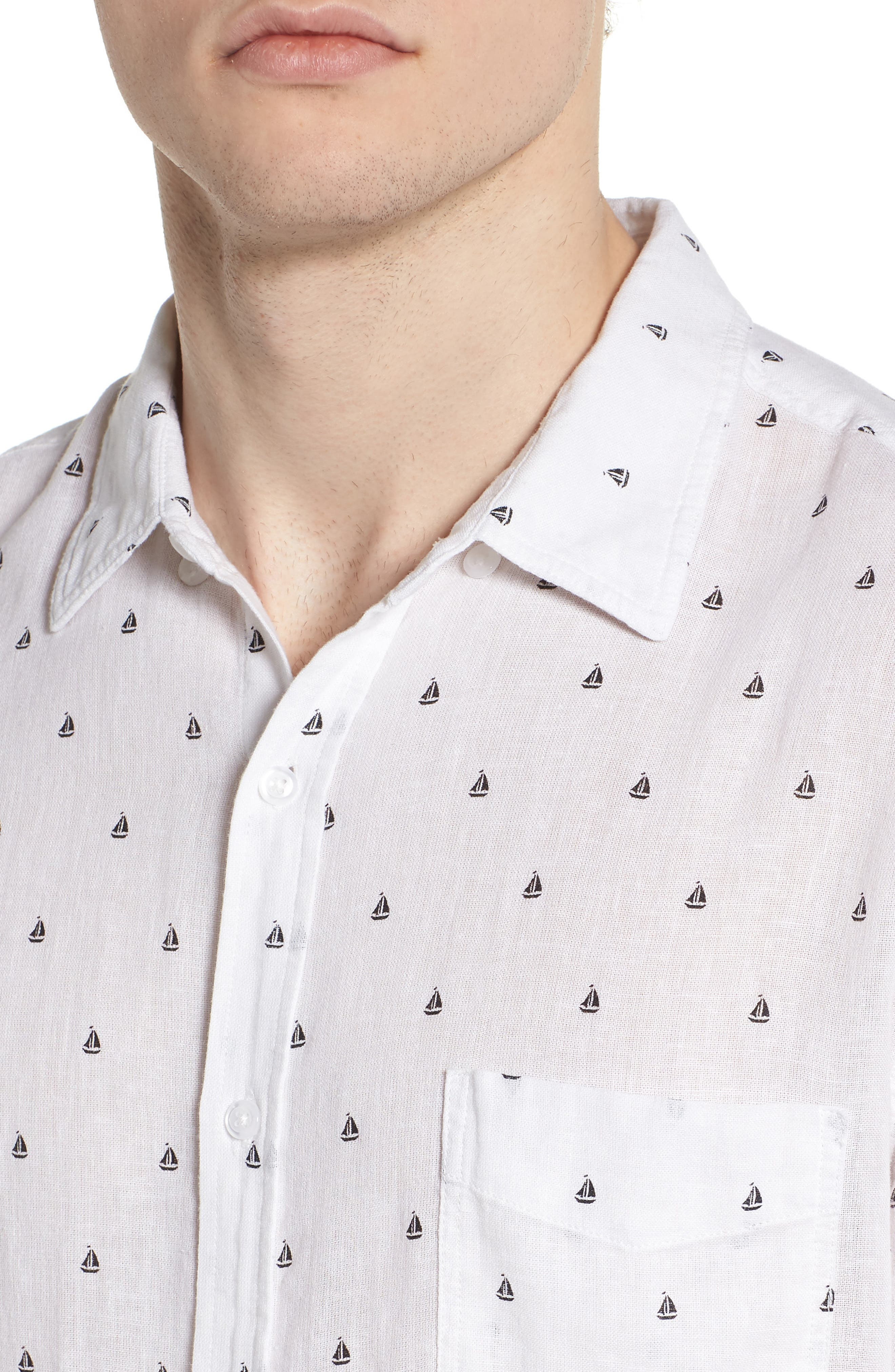 Carson Slim Fit Sailboat Print Sport Shirt,                             Alternate thumbnail 4, color,                             BLACK MINI SAILBOATS