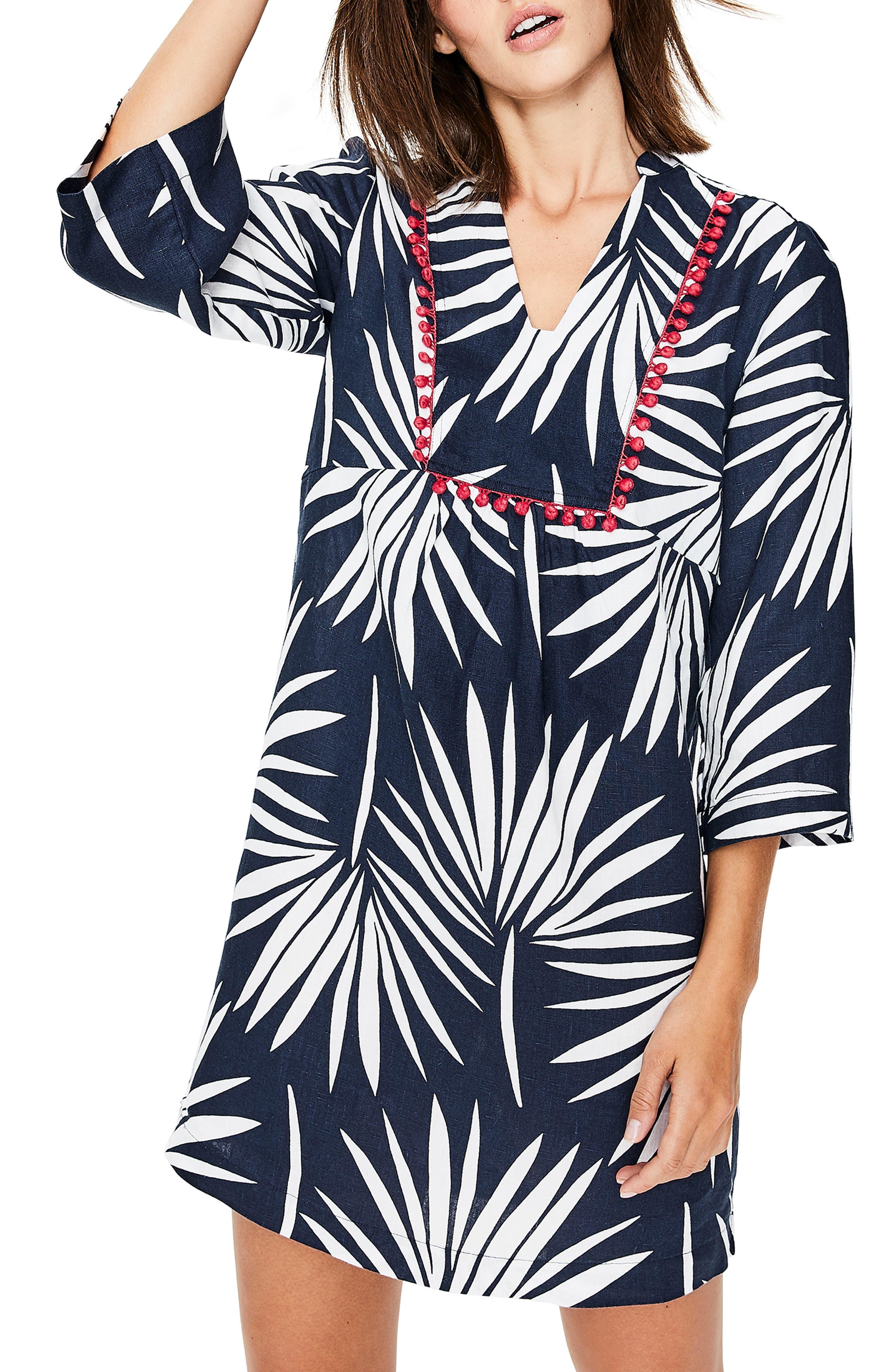 Boden Evangeline Print Linen Dress, Blue