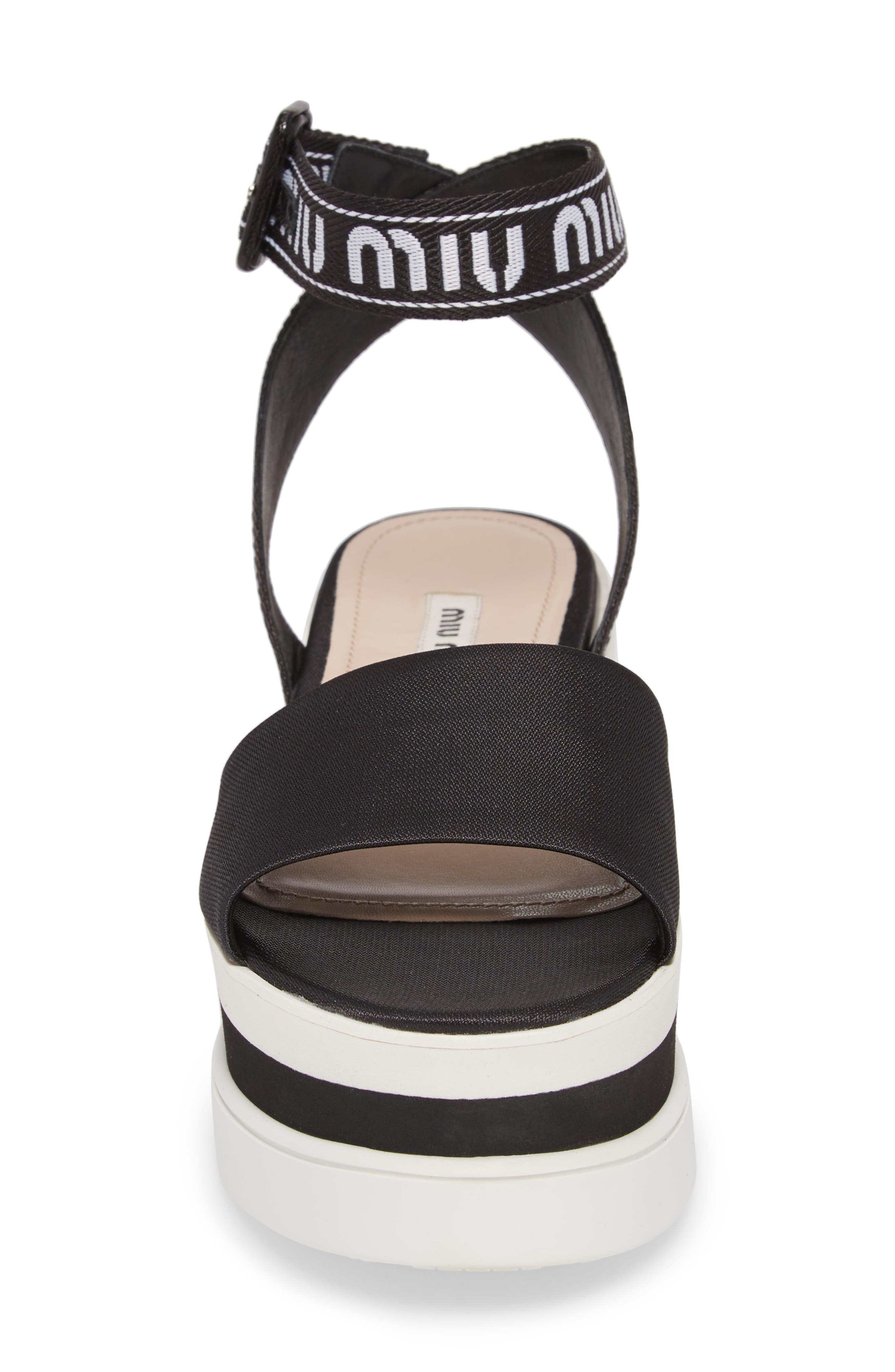 MIU MIU,                             Flatform Logo Sandal,                             Alternate thumbnail 4, color,                             BLACK