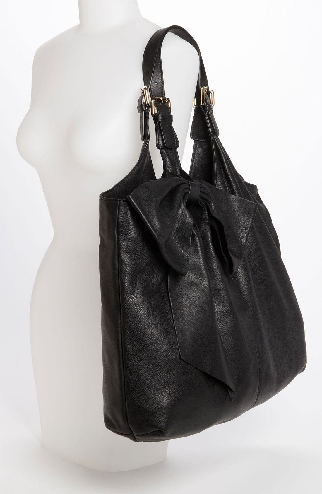 'Bow' Leather Hobo,                             Alternate thumbnail 4, color,                             002