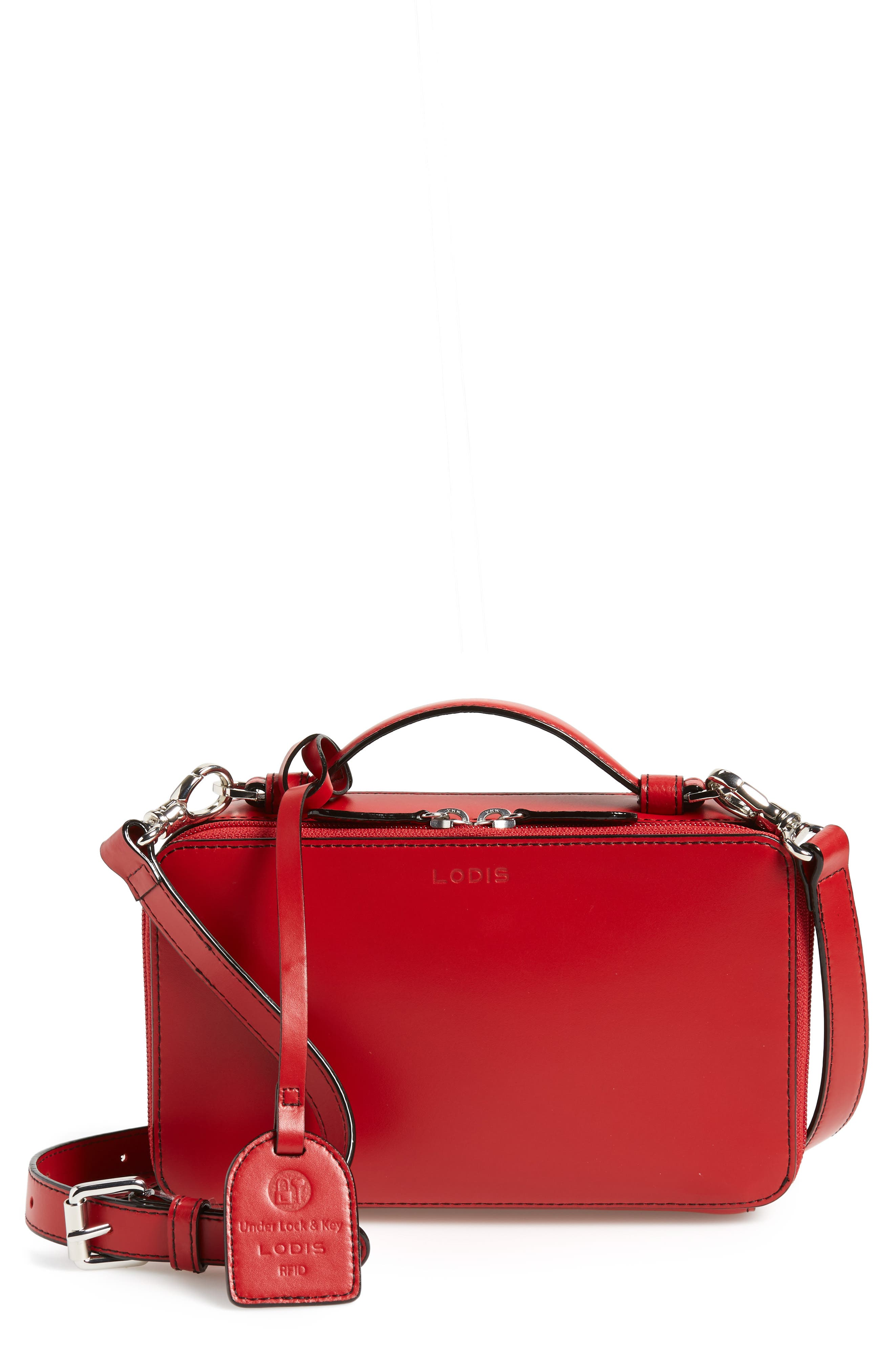 Downtown Sally RFID Zip-Around Leather Crossbody Bag,                         Main,                         color, RED