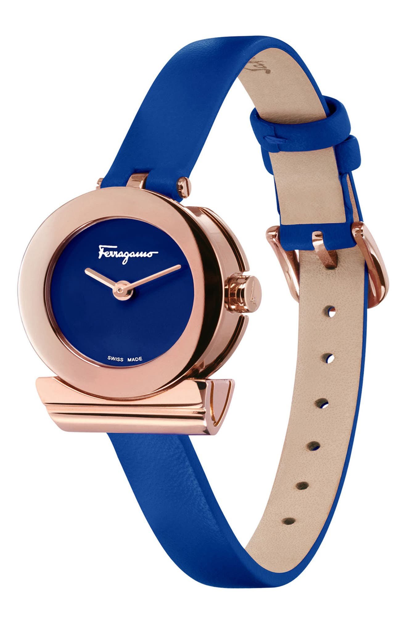 Gancino Leather Strap Watch, 22mm,                             Alternate thumbnail 3, color,                             BLUE/ ROSE GOLD