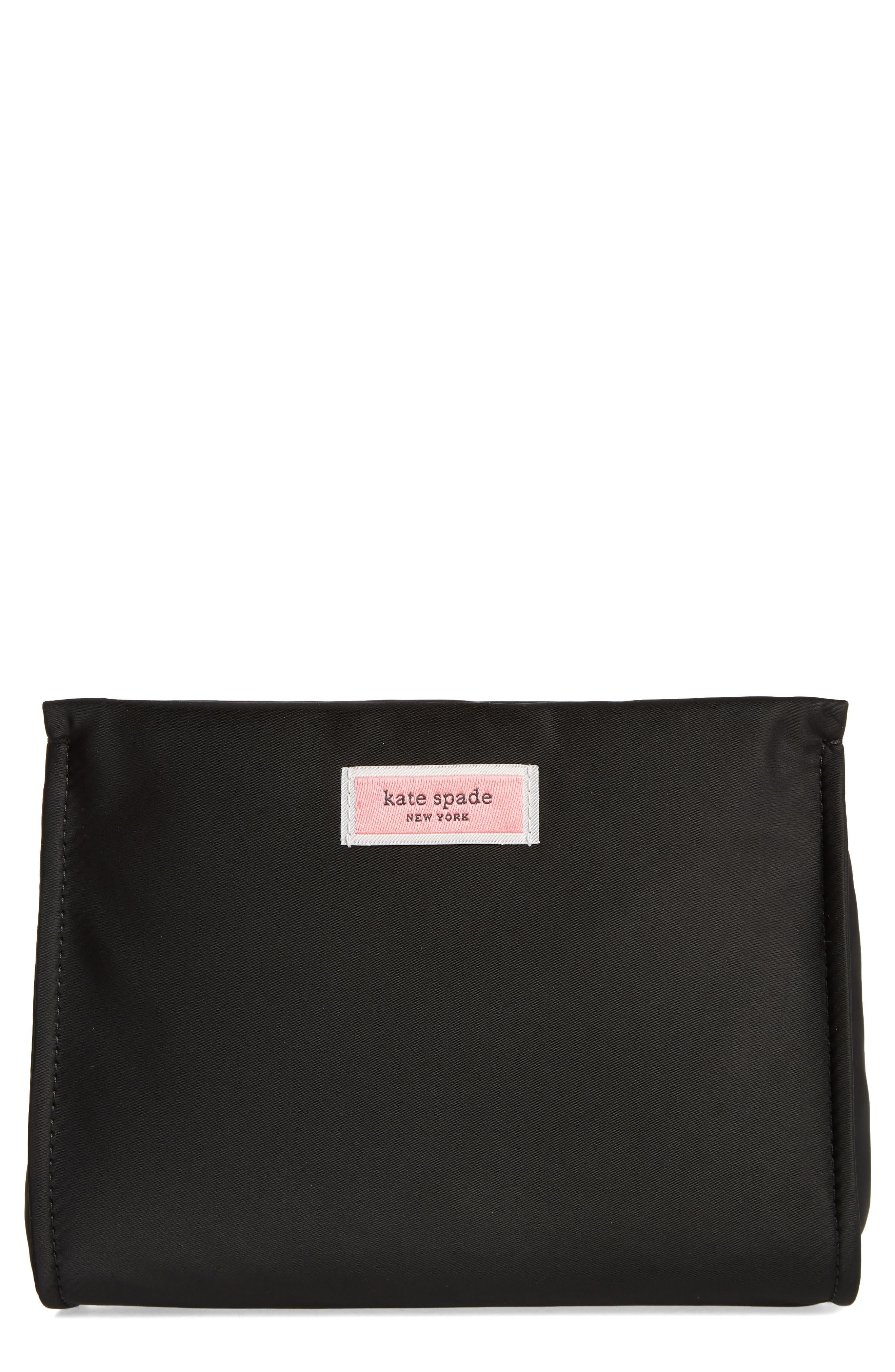 sam nylon cosmetics case,                             Main thumbnail 1, color,                             BLACK