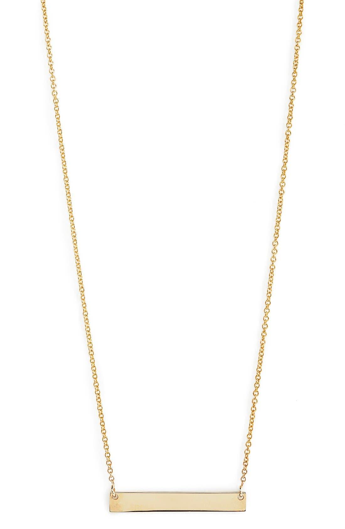 14k GoldBar Pendant Necklace,                             Main thumbnail 1, color,                             YELLOW GOLD
