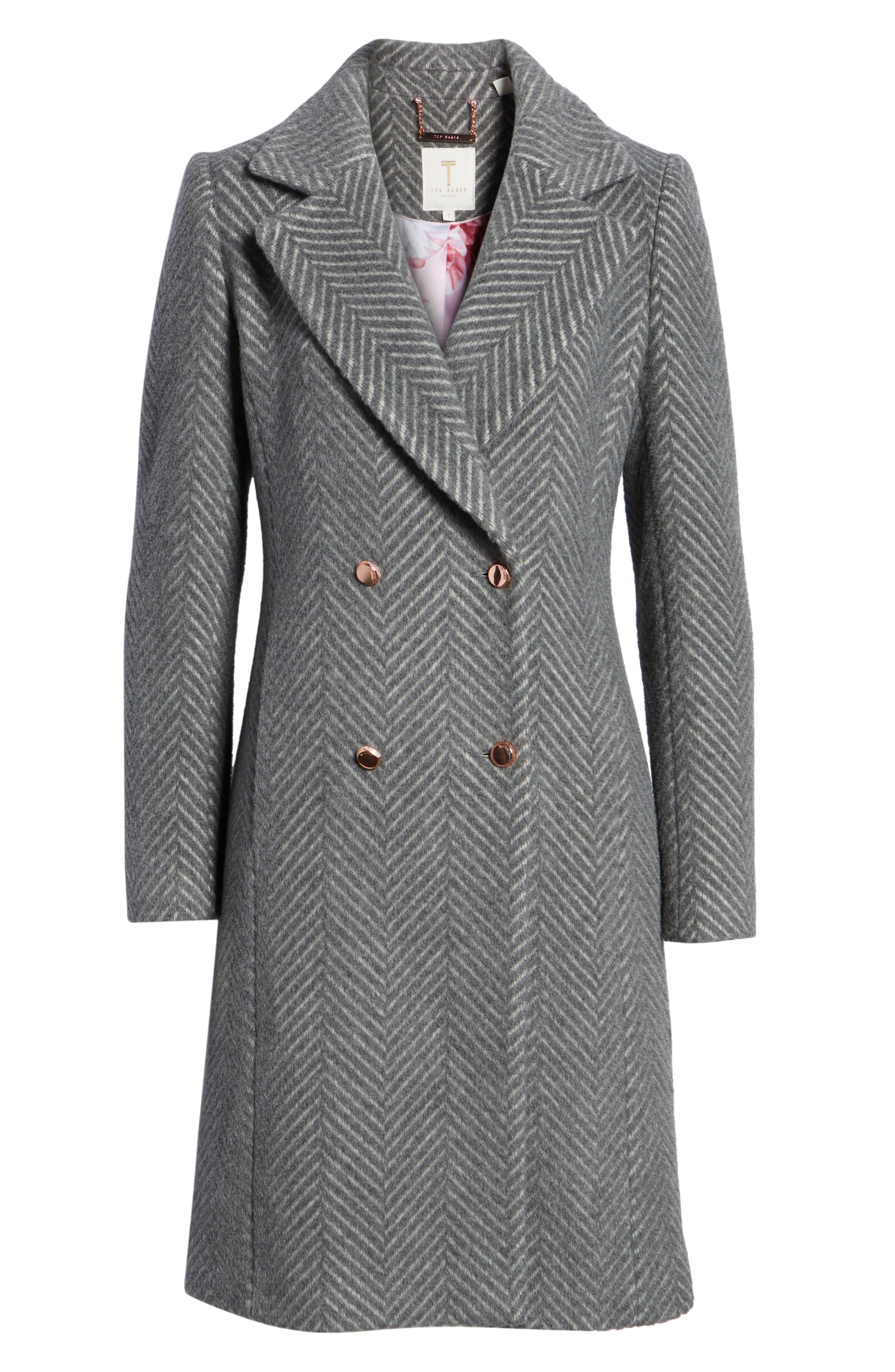 Chevron Coat,                             Alternate thumbnail 6, color,                             GREY