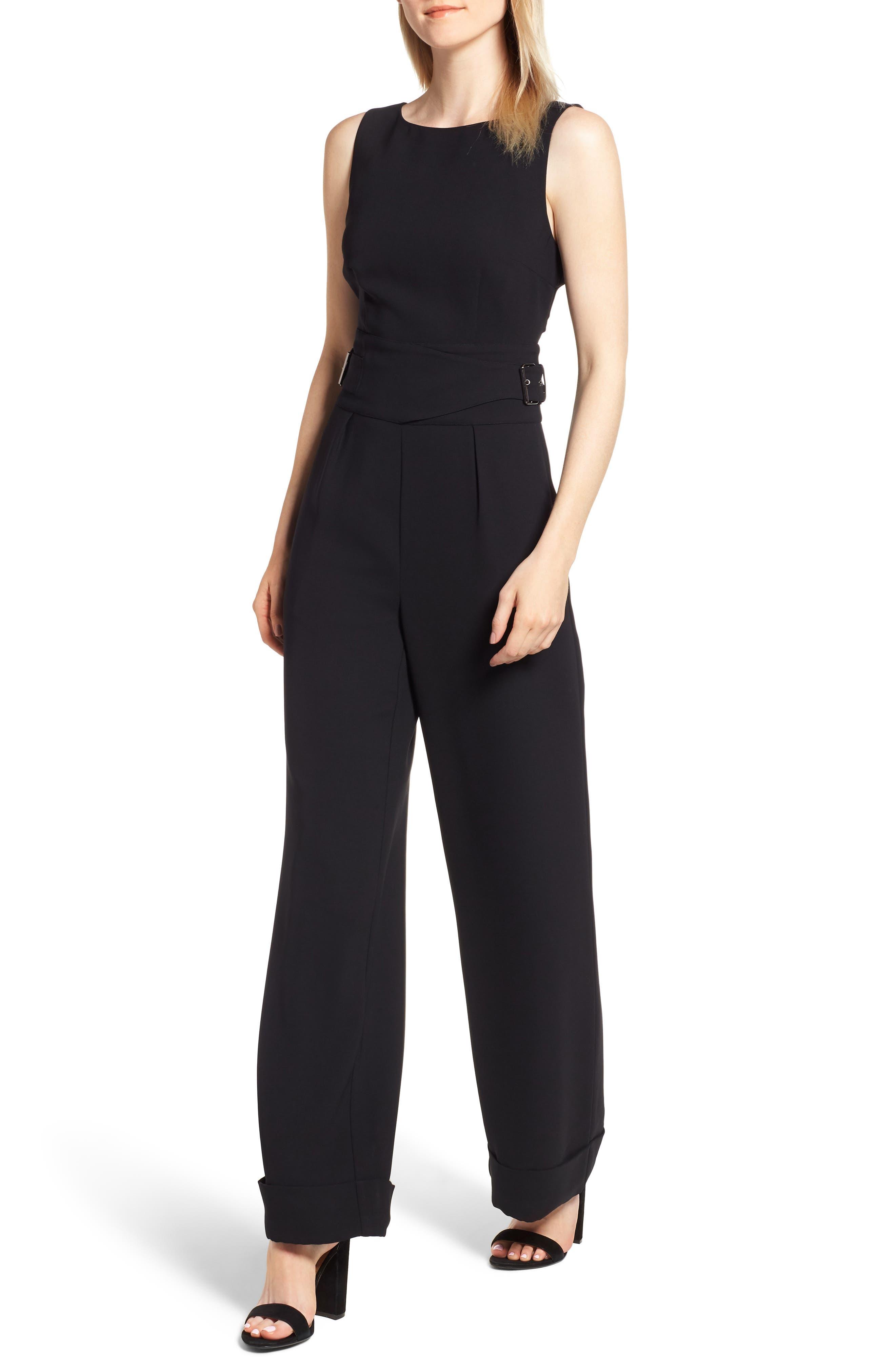 Buckle Waist Jumpsuit,                         Main,                         color, BLACK