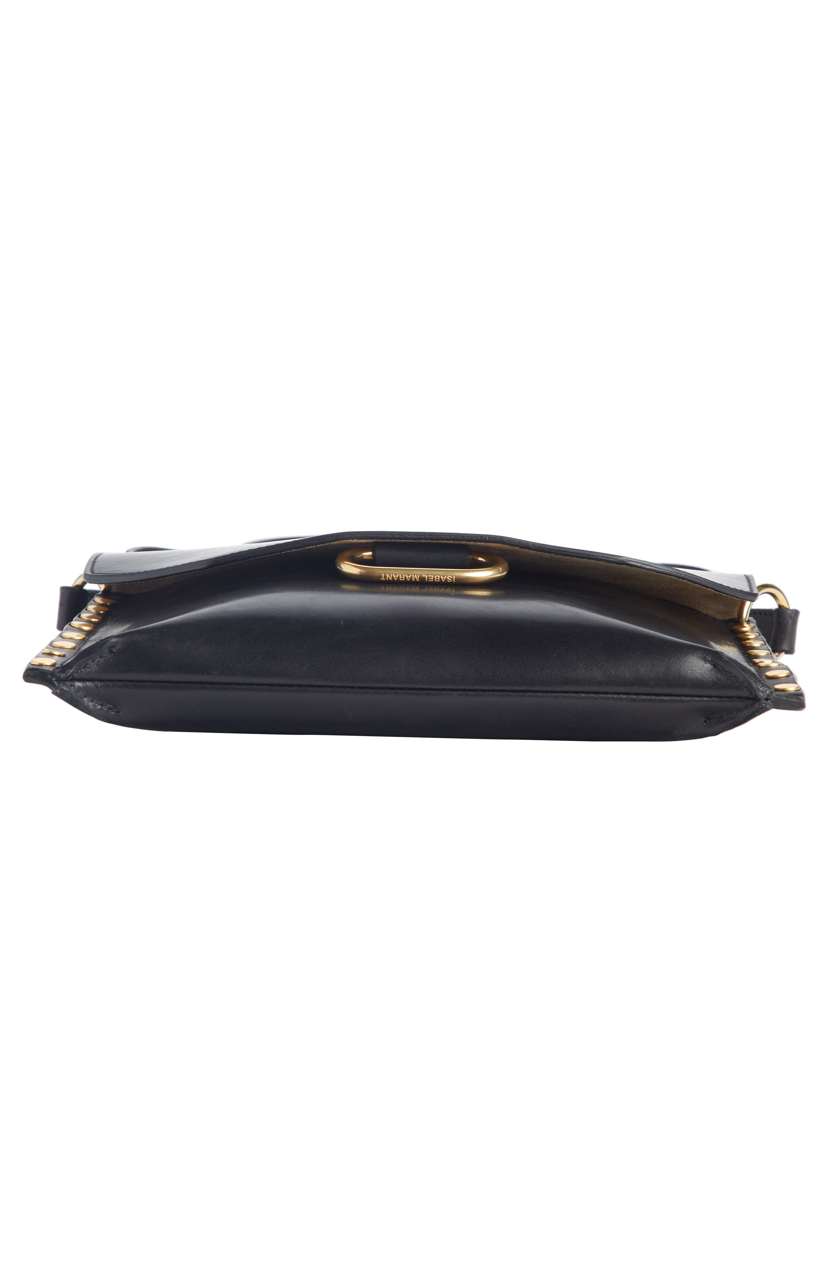 Sinky Leather Crossbody Bag,                             Alternate thumbnail 4, color,                             BLACK