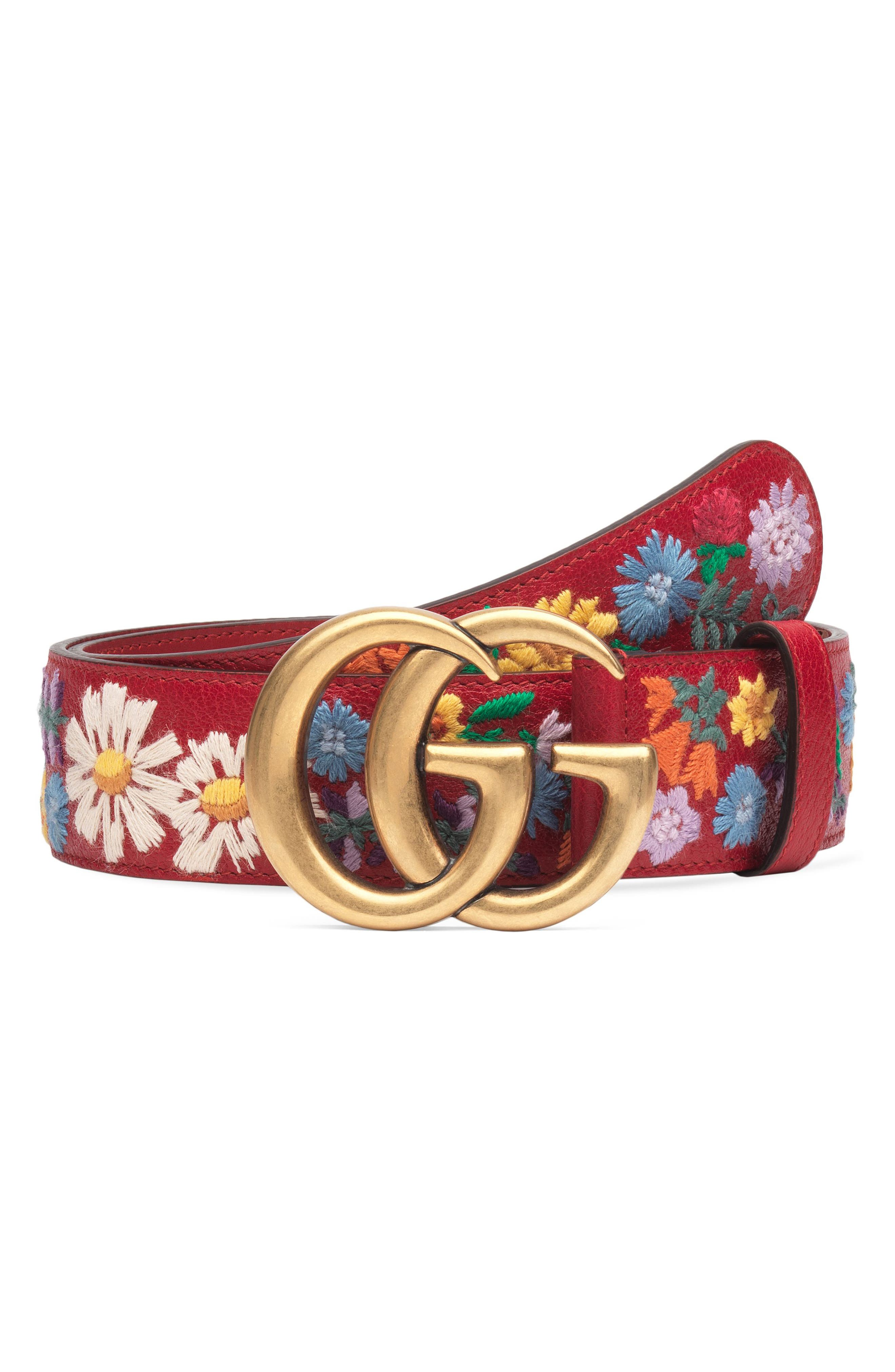 GG Flower Embroidered Calfskin Leather Belt,                         Main,                         color, 600