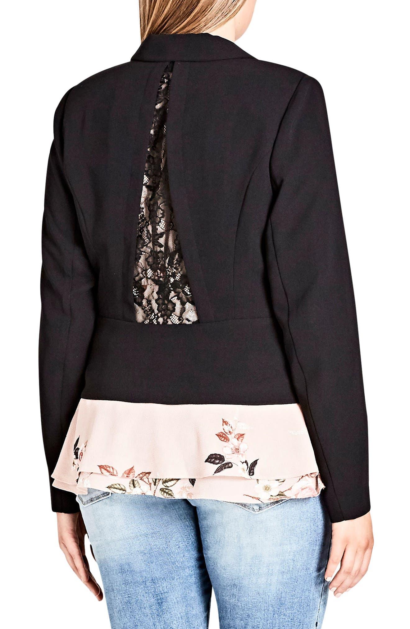 Flutter Lace Back Blazer,                             Alternate thumbnail 2, color,                             BLACK
