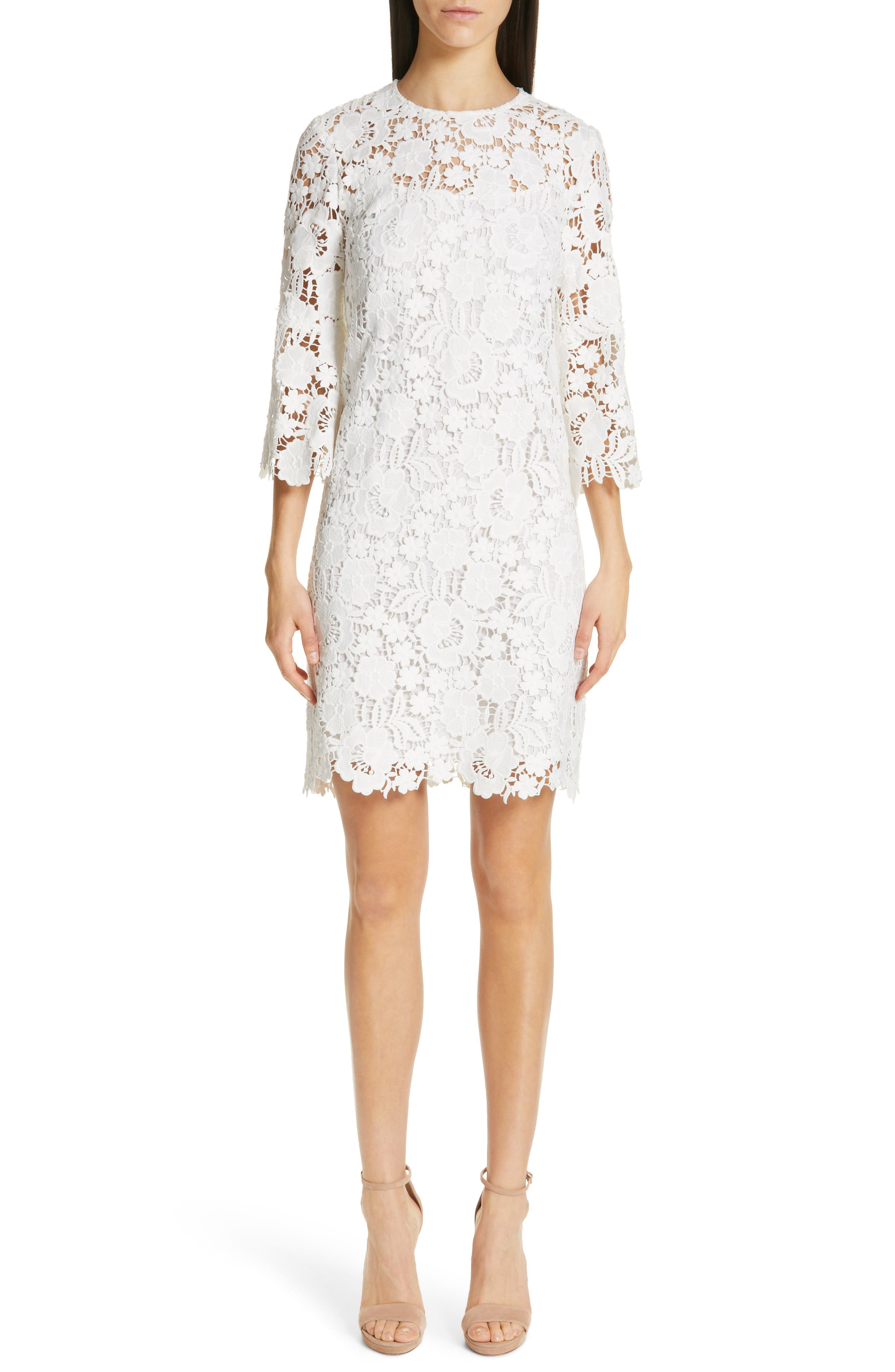 Lela Rose Floral Guipure Lace Dress, White