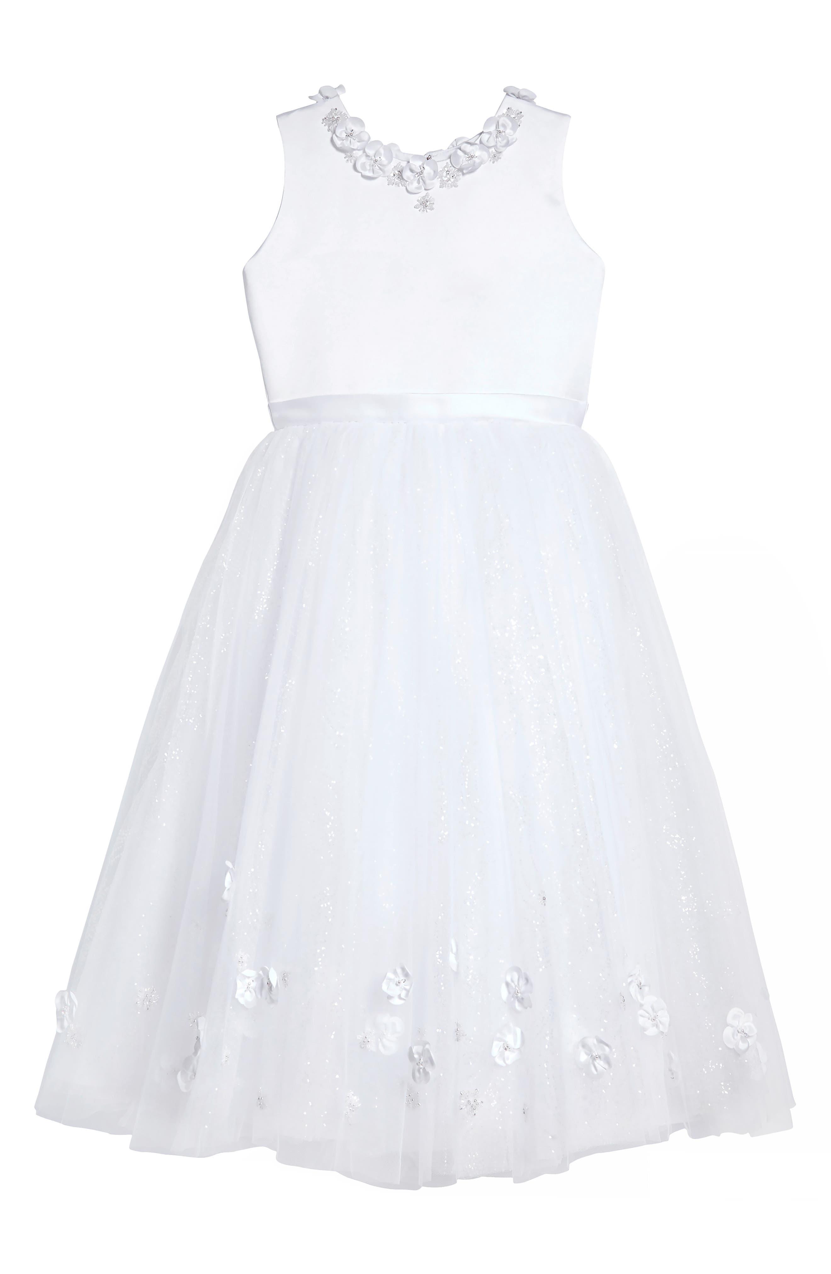 Floral Appliqué First Communion Dress,                             Main thumbnail 1, color,