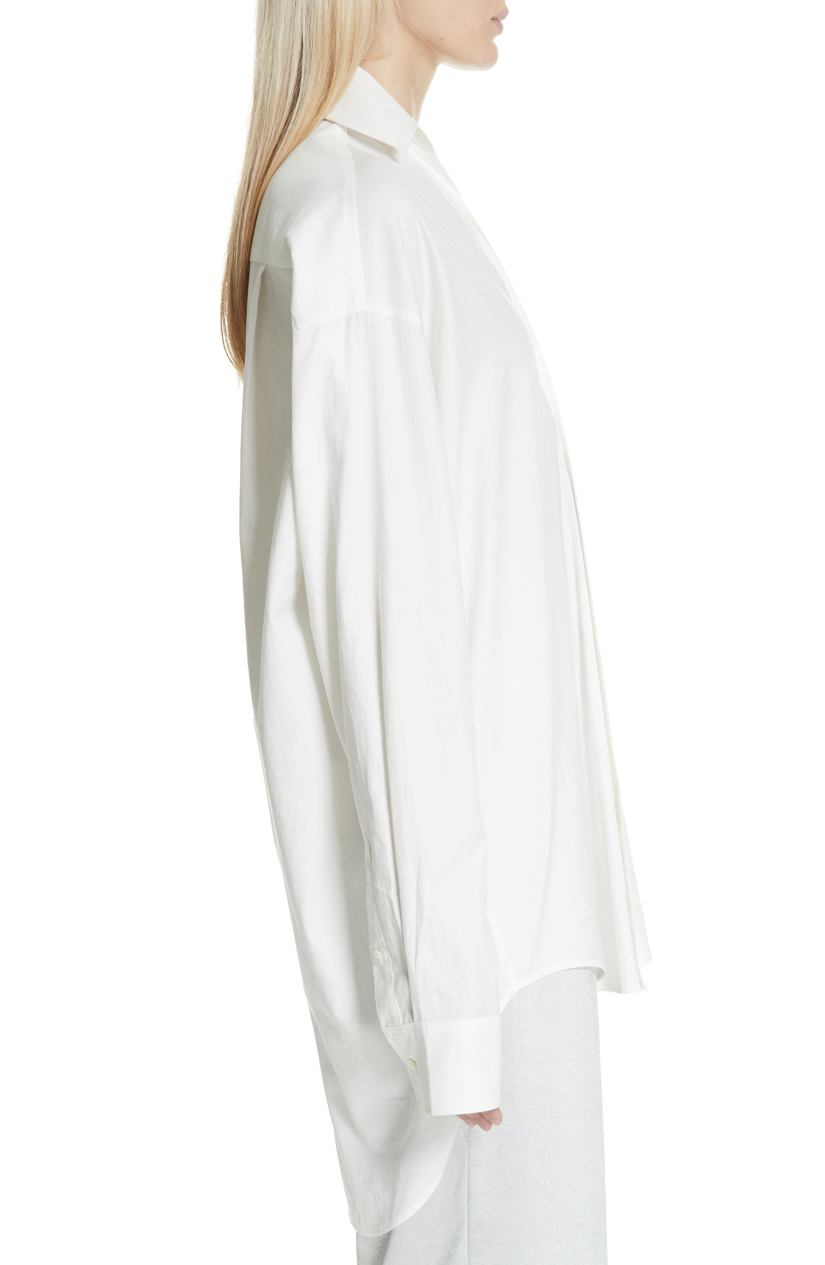 VINCE,                             Oversize Classic Cotton & Silk Shirt,                             Alternate thumbnail 3, color,                             137