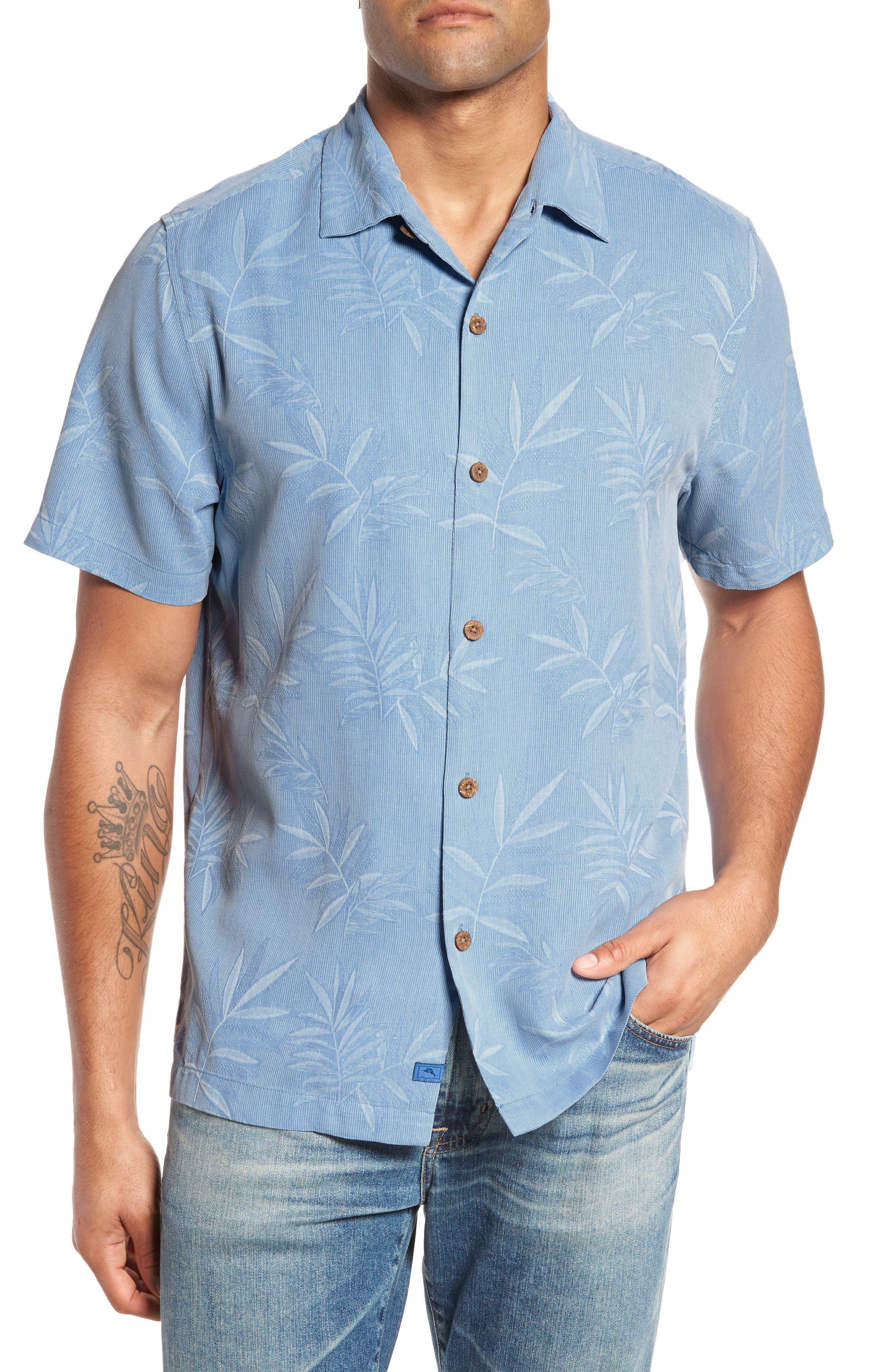 Luau Floral Silk Shirt,                             Main thumbnail 1, color,                             LIGHT SKY