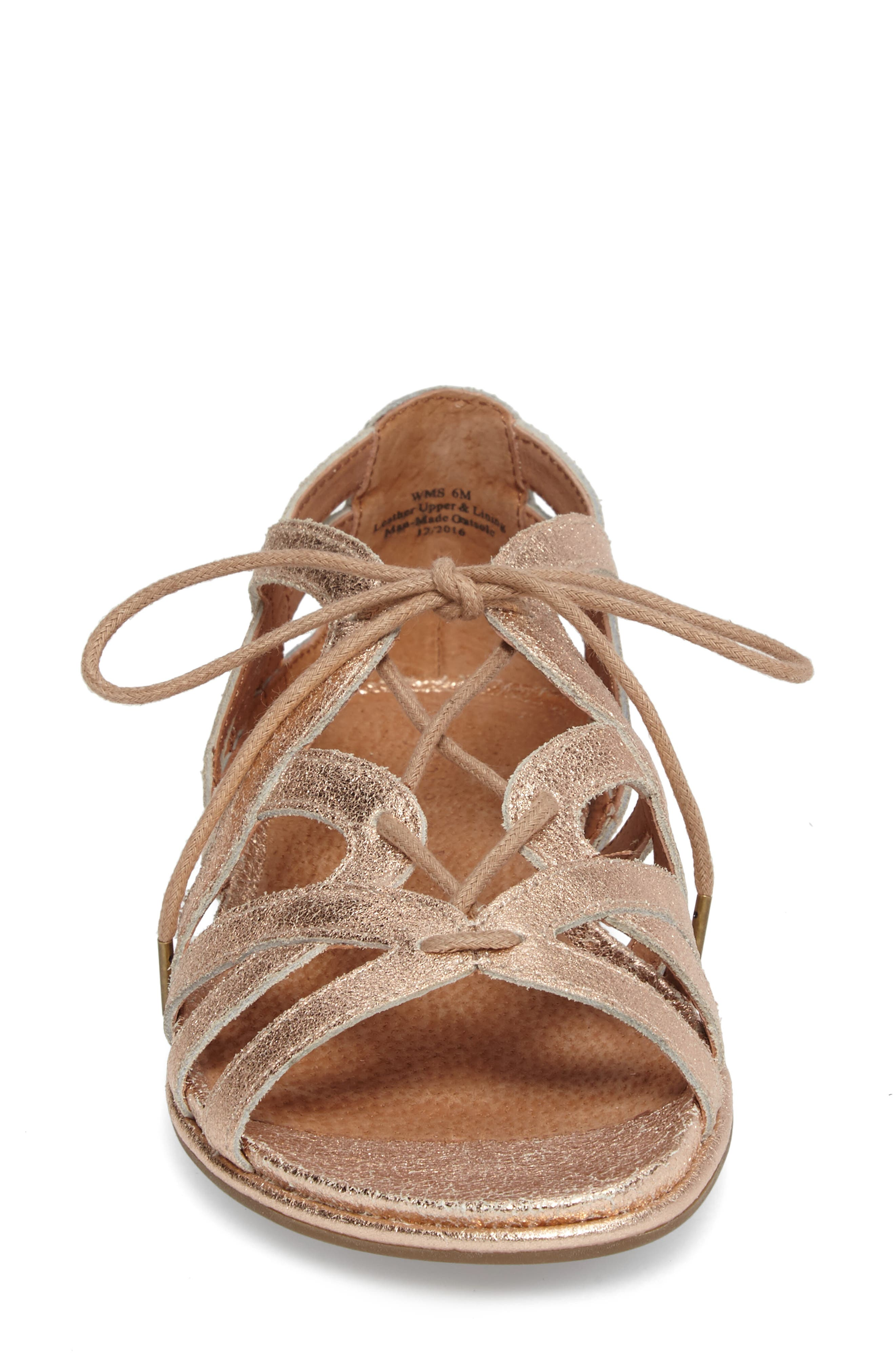 Orly Lace-Up Sandal,                             Alternate thumbnail 4, color,                             ROSE GOLD LEATHER
