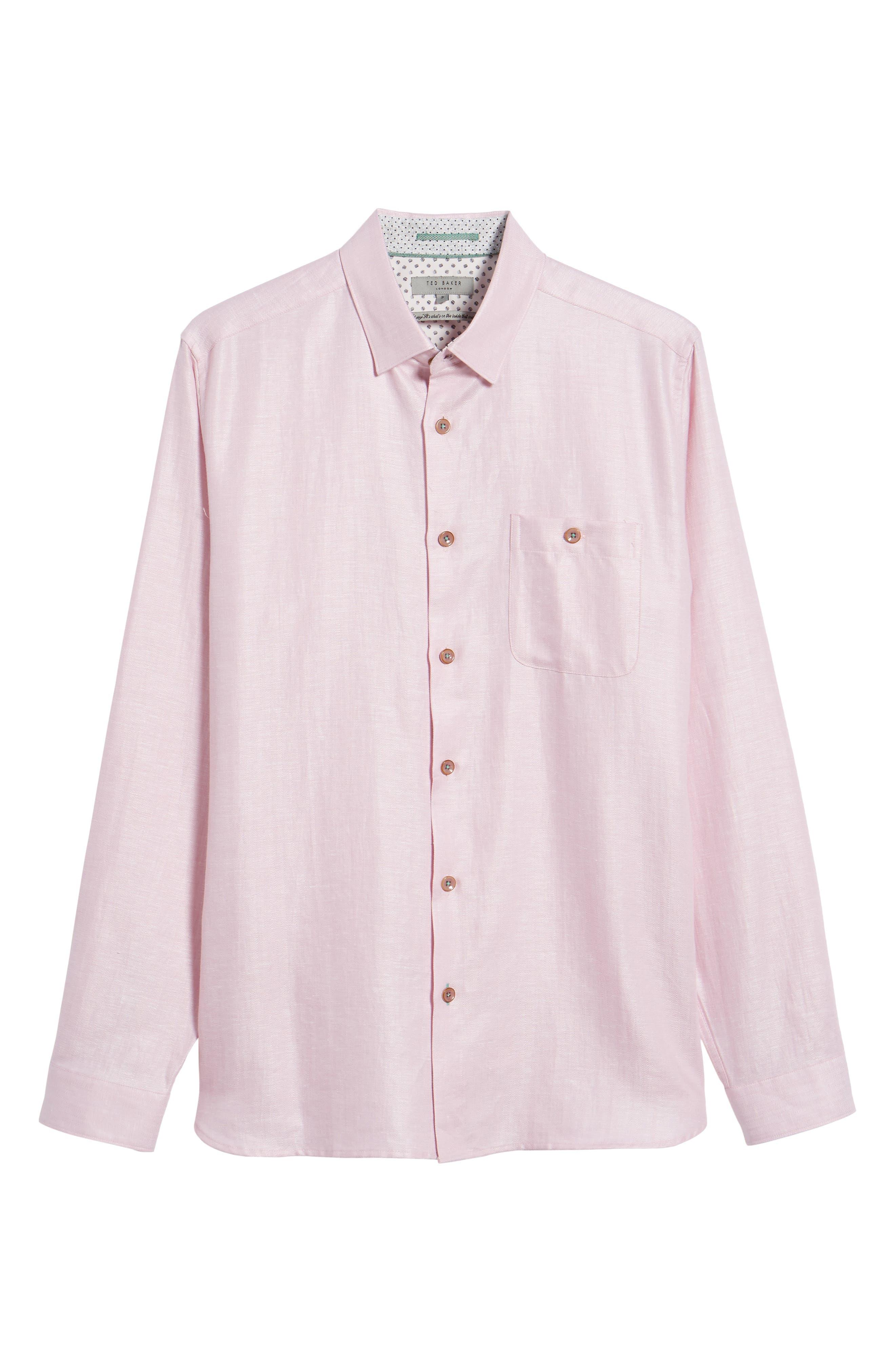 Linlins Herringbone Cotton & Linen Sport Shirt,                             Alternate thumbnail 28, color,