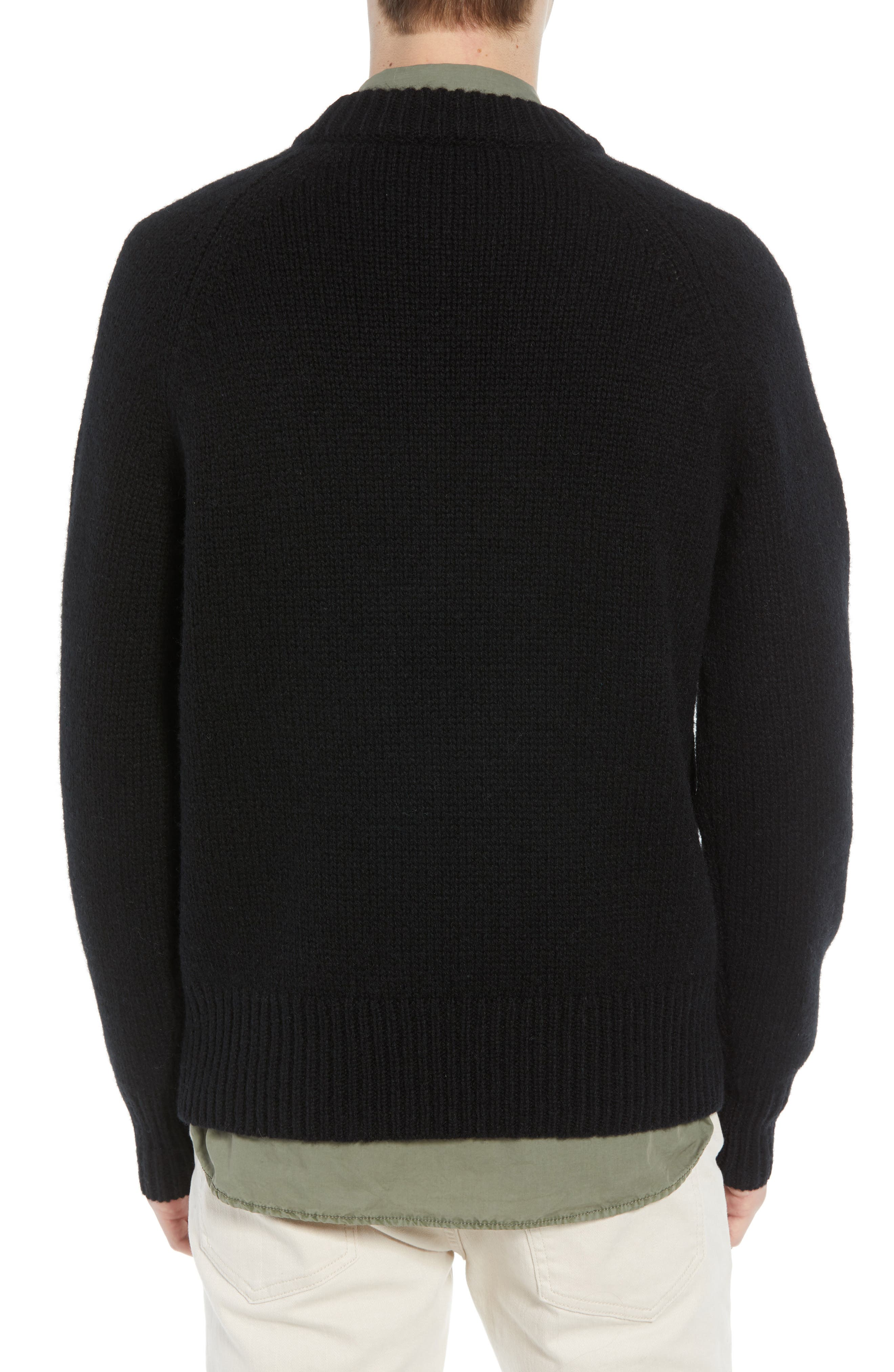 Star Wool Sweater,                             Alternate thumbnail 2, color,                             BLACK WHITECAP GREY