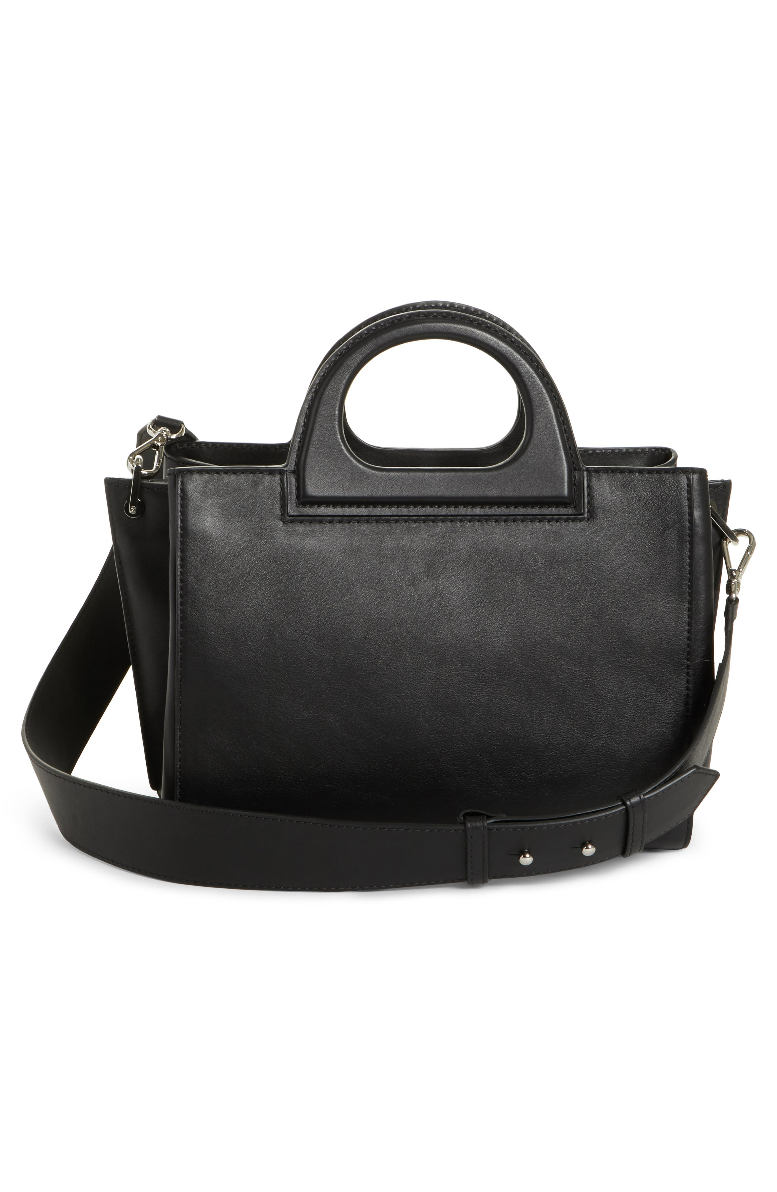 Small Grace Leather Tote,                             Alternate thumbnail 3, color,                             BLACK