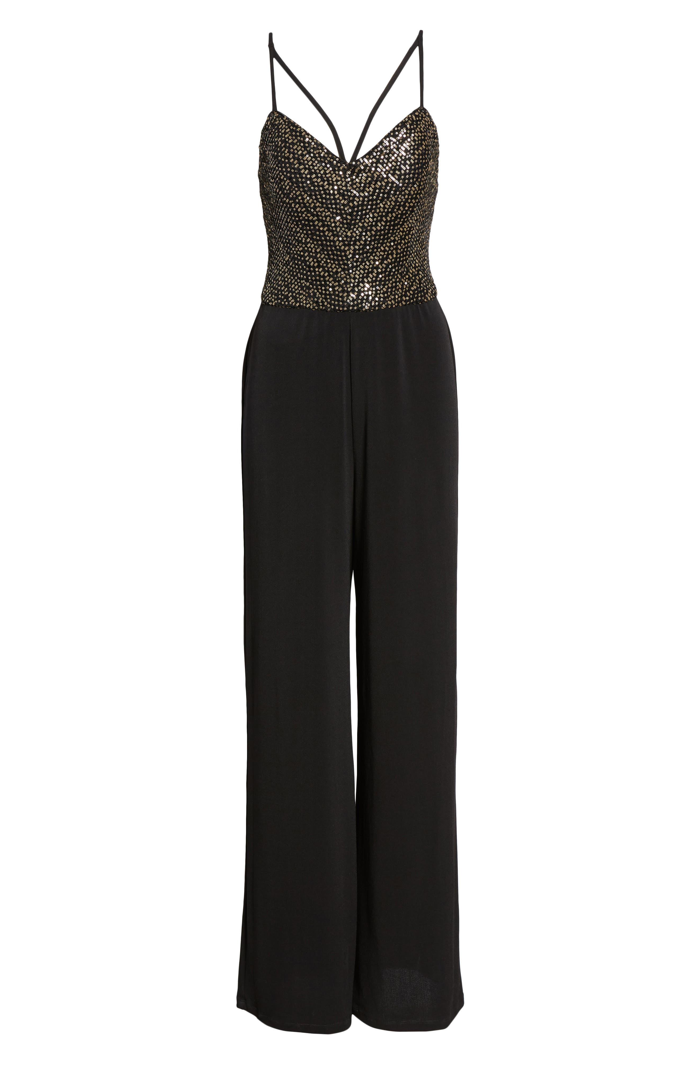 Sequin Bodice Jumpsuit,                             Alternate thumbnail 7, color,                             BLACK