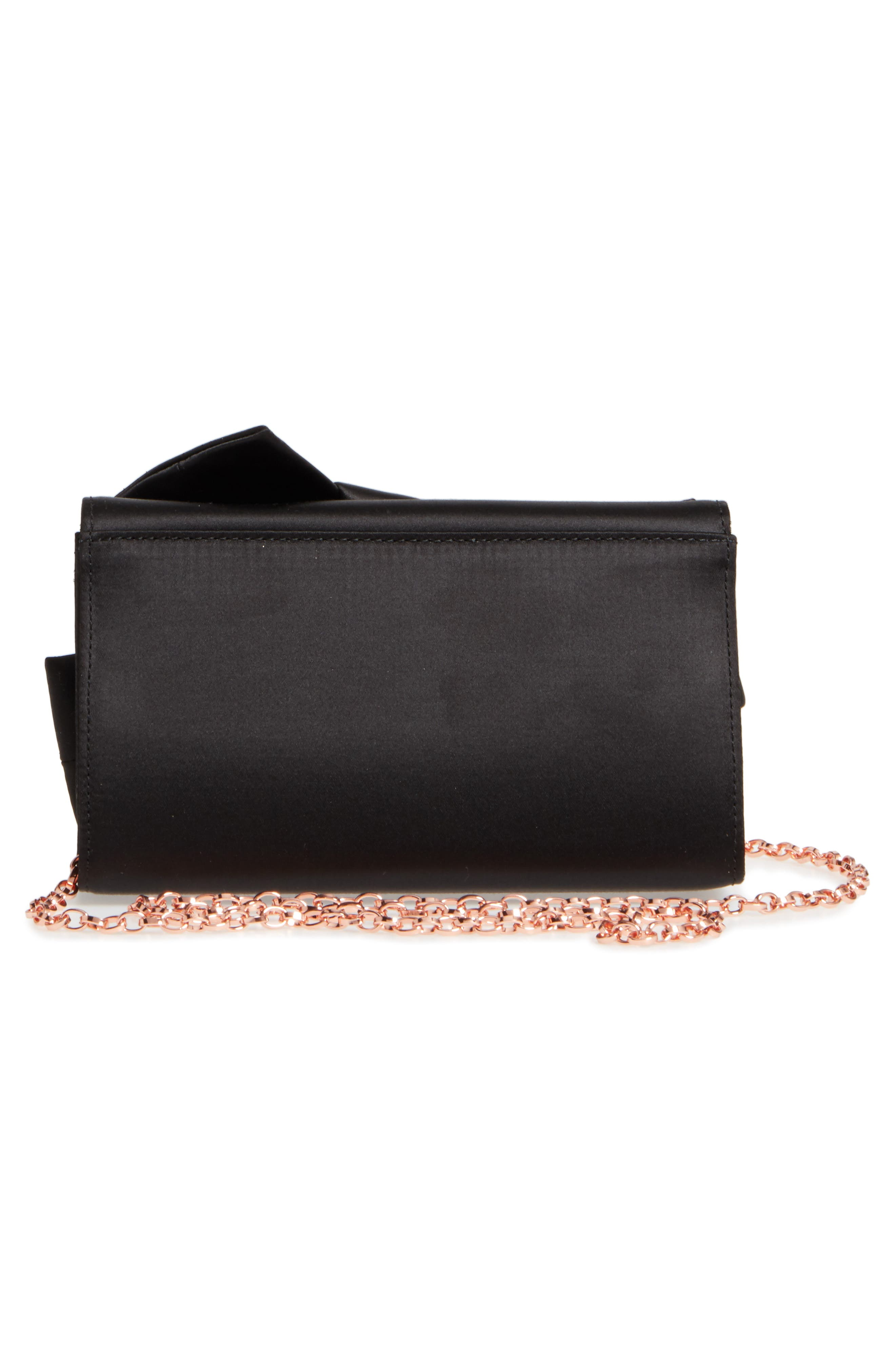 Fefee Satin Knotted Bow Clutch,                             Alternate thumbnail 3, color,                             001