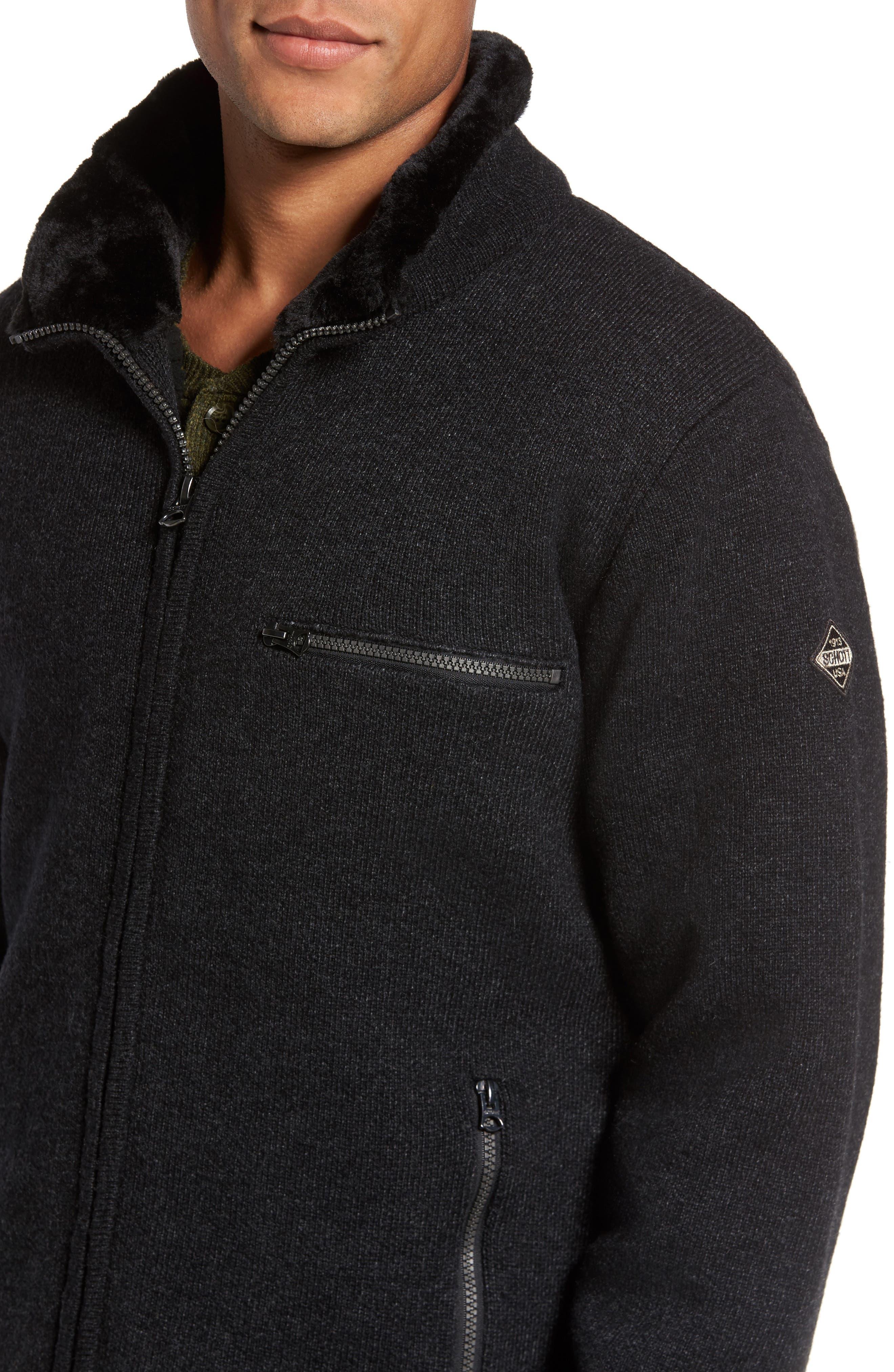 Caf Faux Fur Lined Sweater Jacket,                             Alternate thumbnail 4, color,                             BLACK