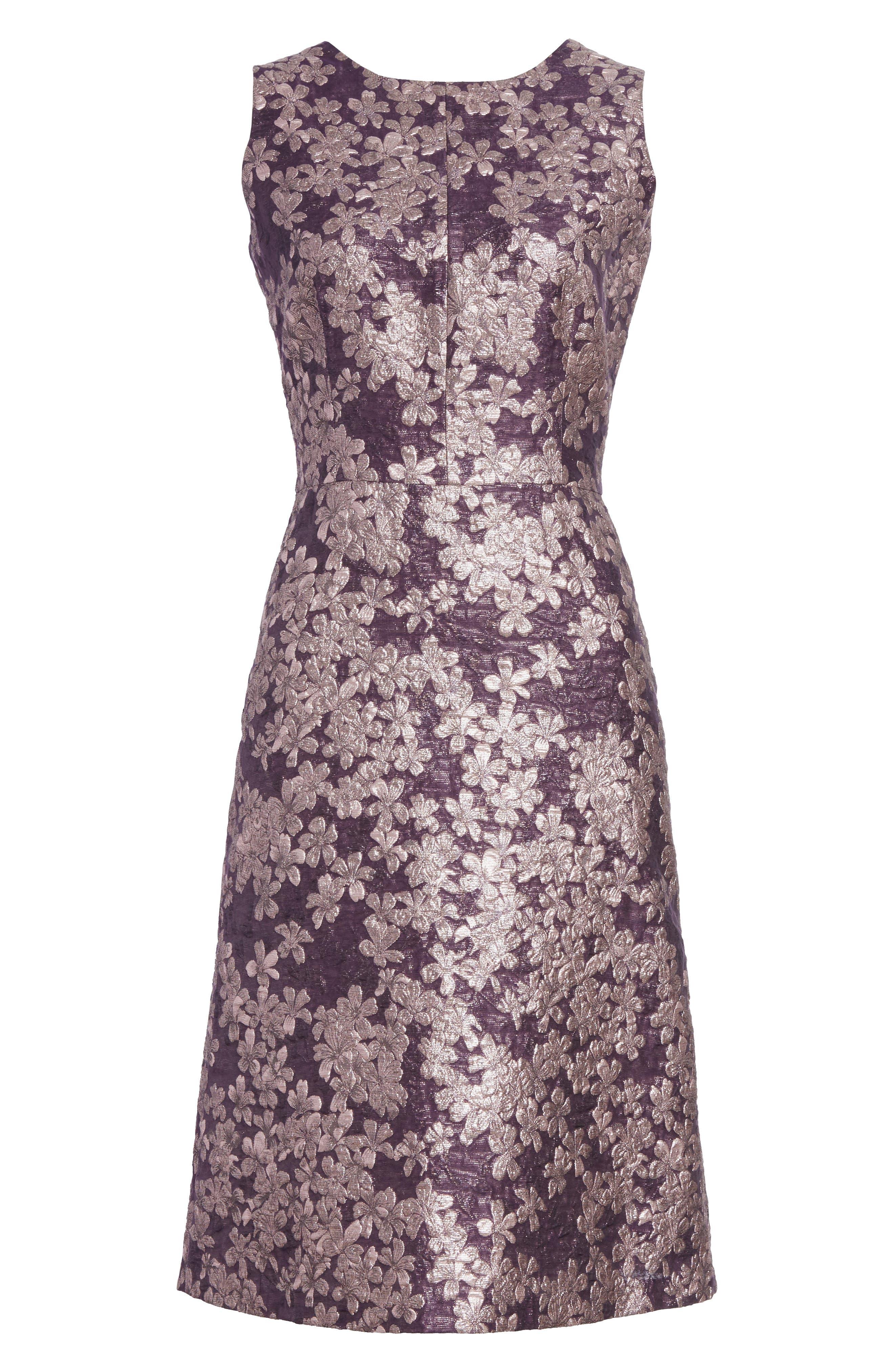 Metallic Floral Jacquard Dress,                             Alternate thumbnail 6, color,                             560