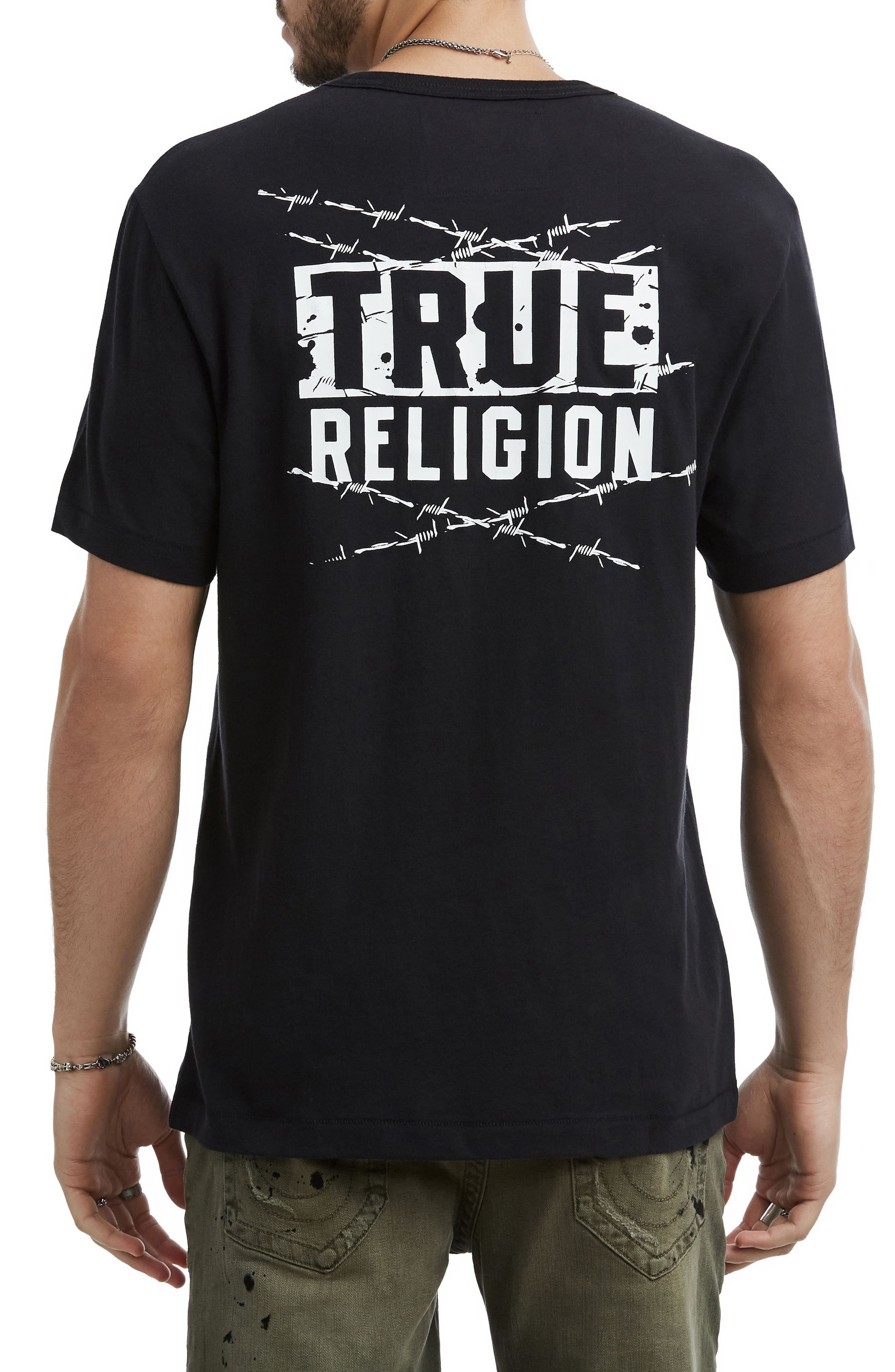 Barbed Wire Logo T-Shirt,                             Alternate thumbnail 2, color,                             TRUE BLACK
