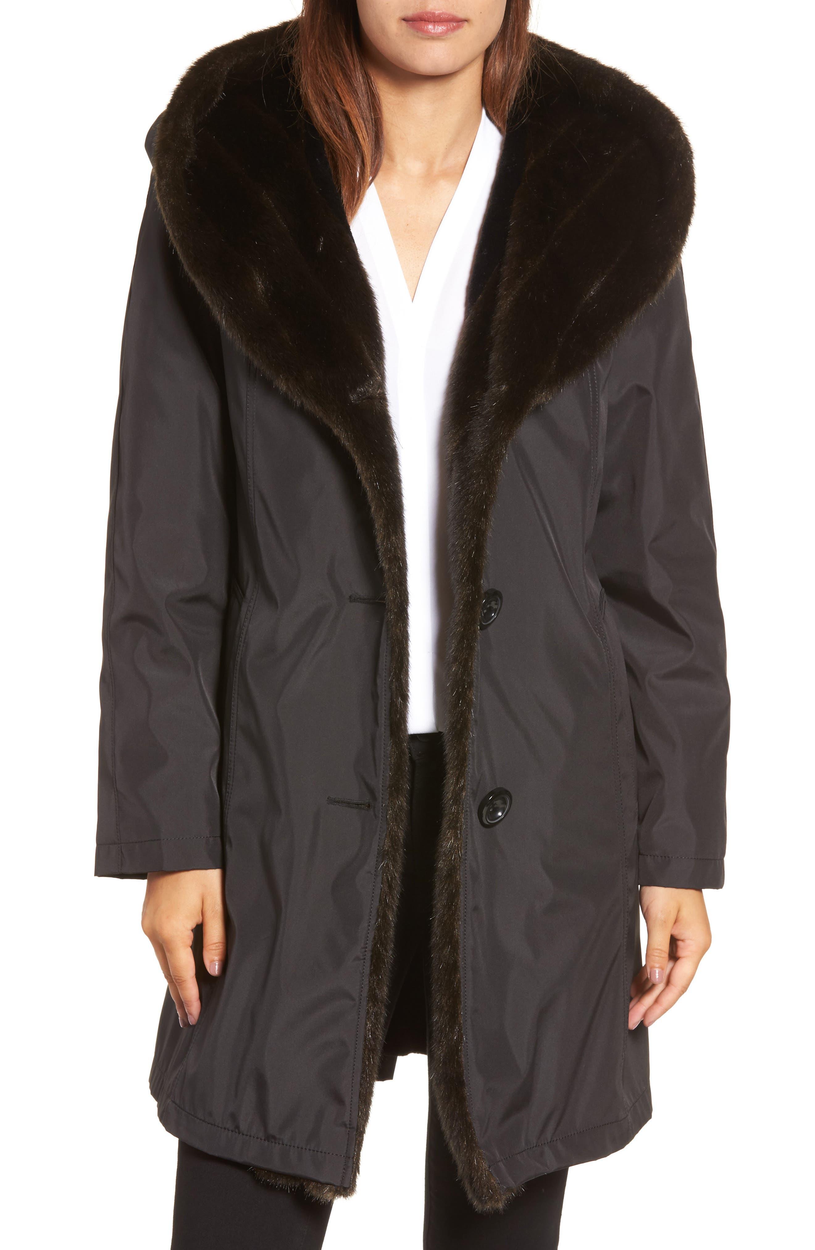 Storm Coat with Faux Fur Trim & Lining,                             Main thumbnail 1, color,                             001