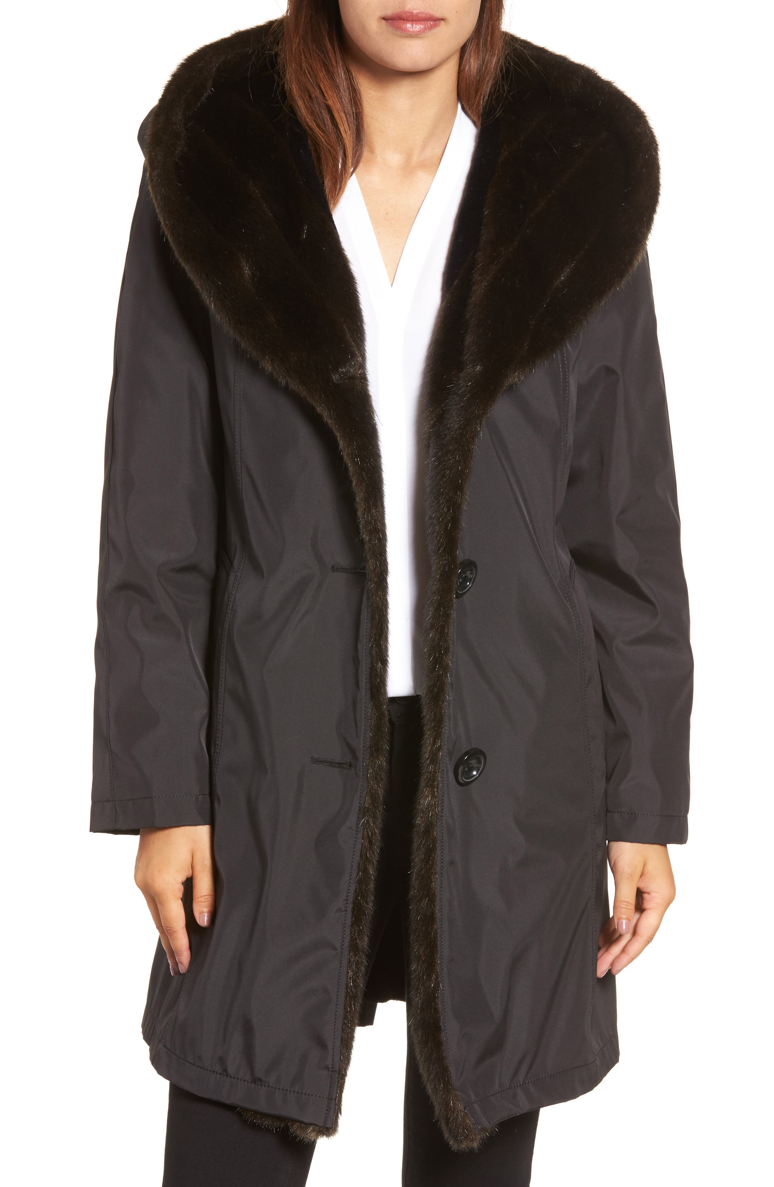 Storm Coat with Faux Fur Trim & Lining,                         Main,                         color, 001